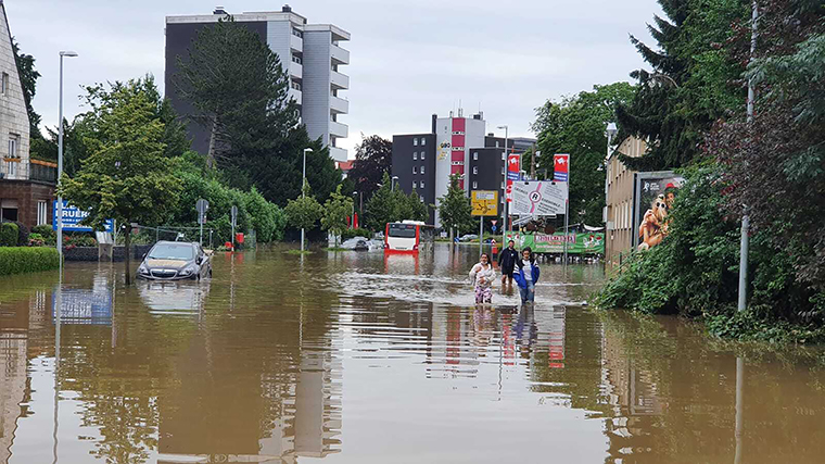 A view of flooded area after severe rainstorm and flash floods hit western states of Rhineland-Palatinate and North Rhine-Westphalia in Germany on July 15.