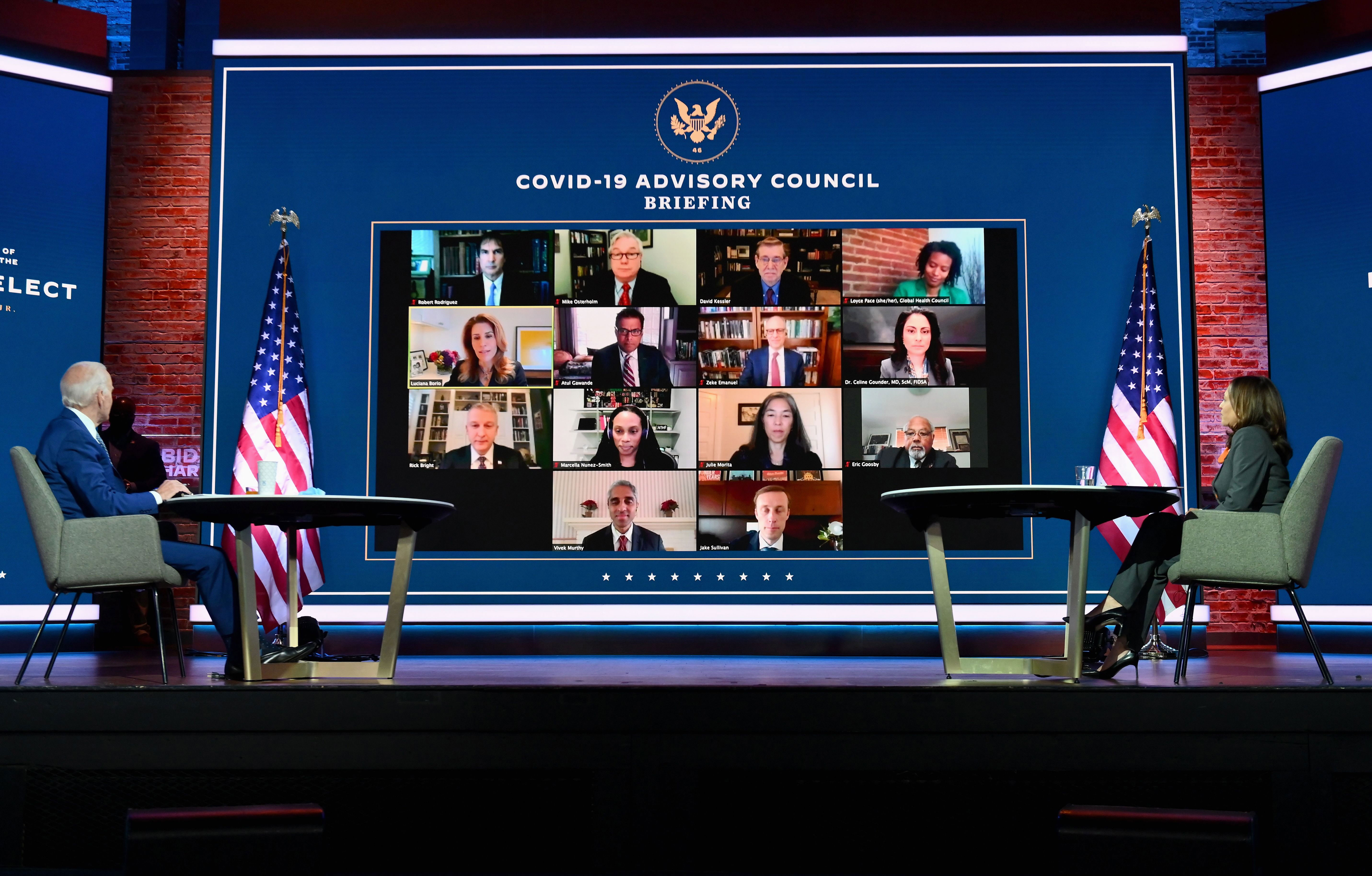 President-elect Joe Biden and Vice President-elect Kamala Harris attend a briefing with their transition Covid-19 advisory board at The Queen theater in Wilmington, Delaware, on November 9.