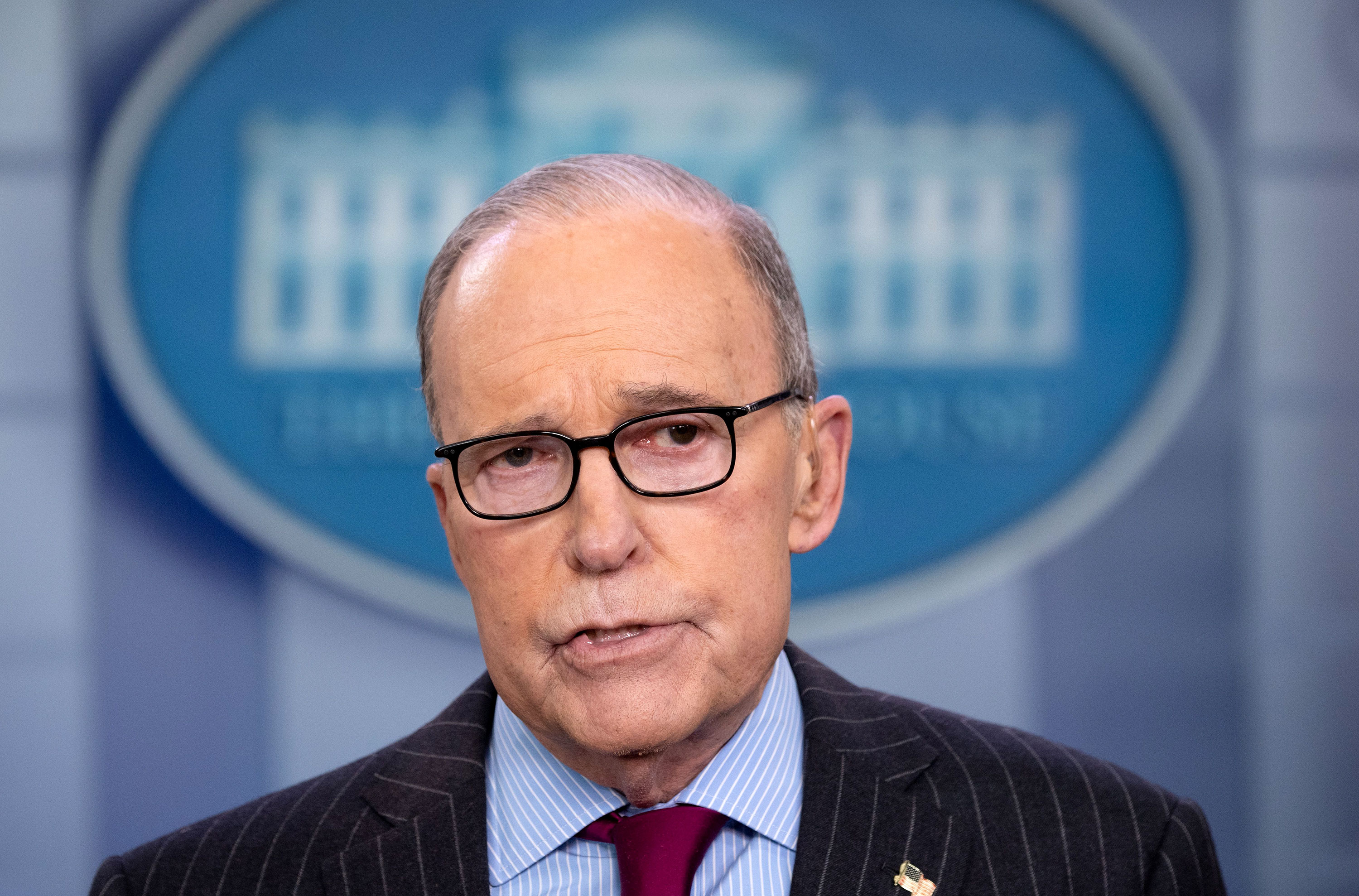 National Economic Council director Larry Kudlow speaks during a television interview at the White House on January 29.