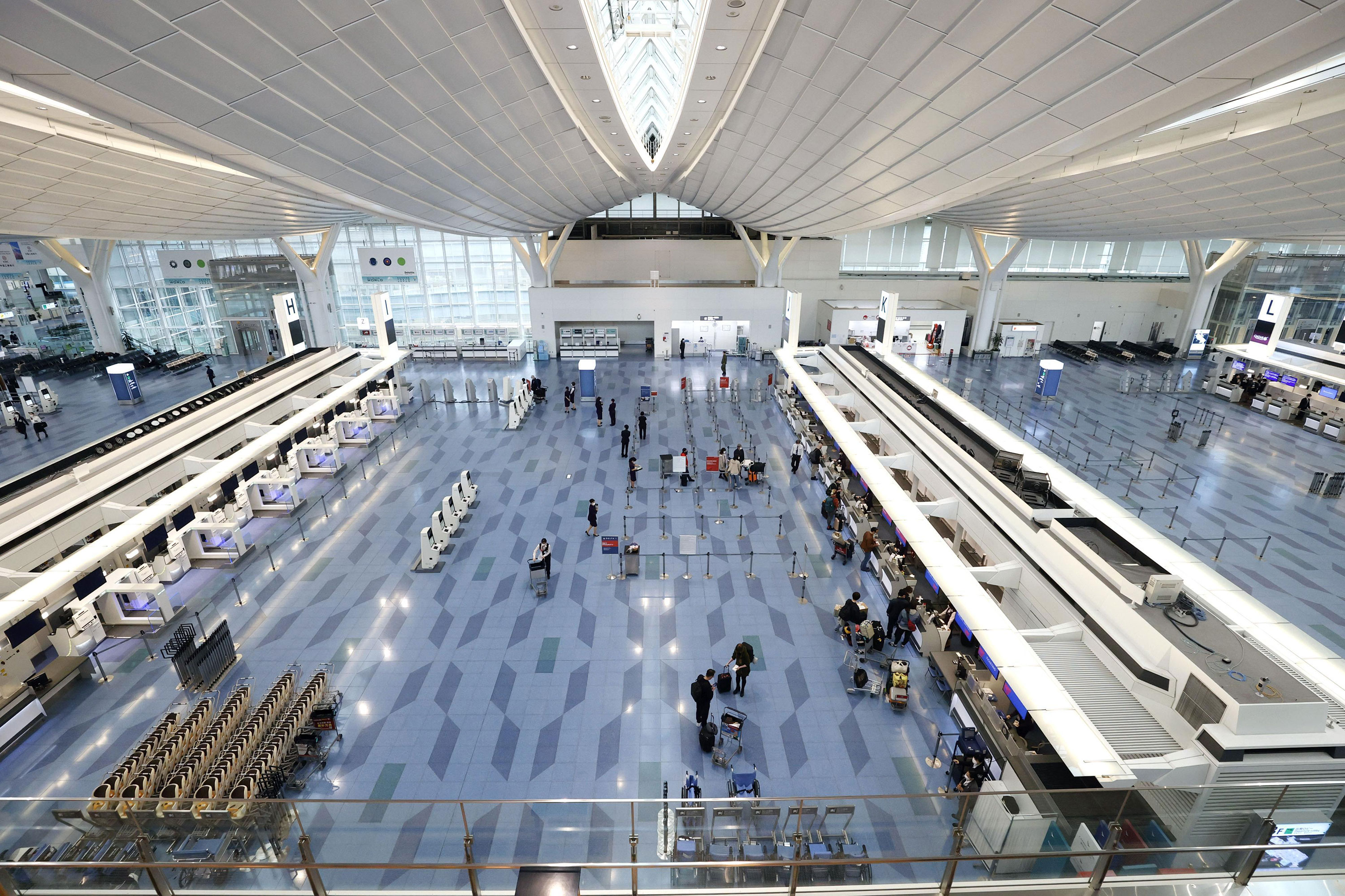 Terminal 3 is deserted at Tokyo's Haneda airport on April 1.
