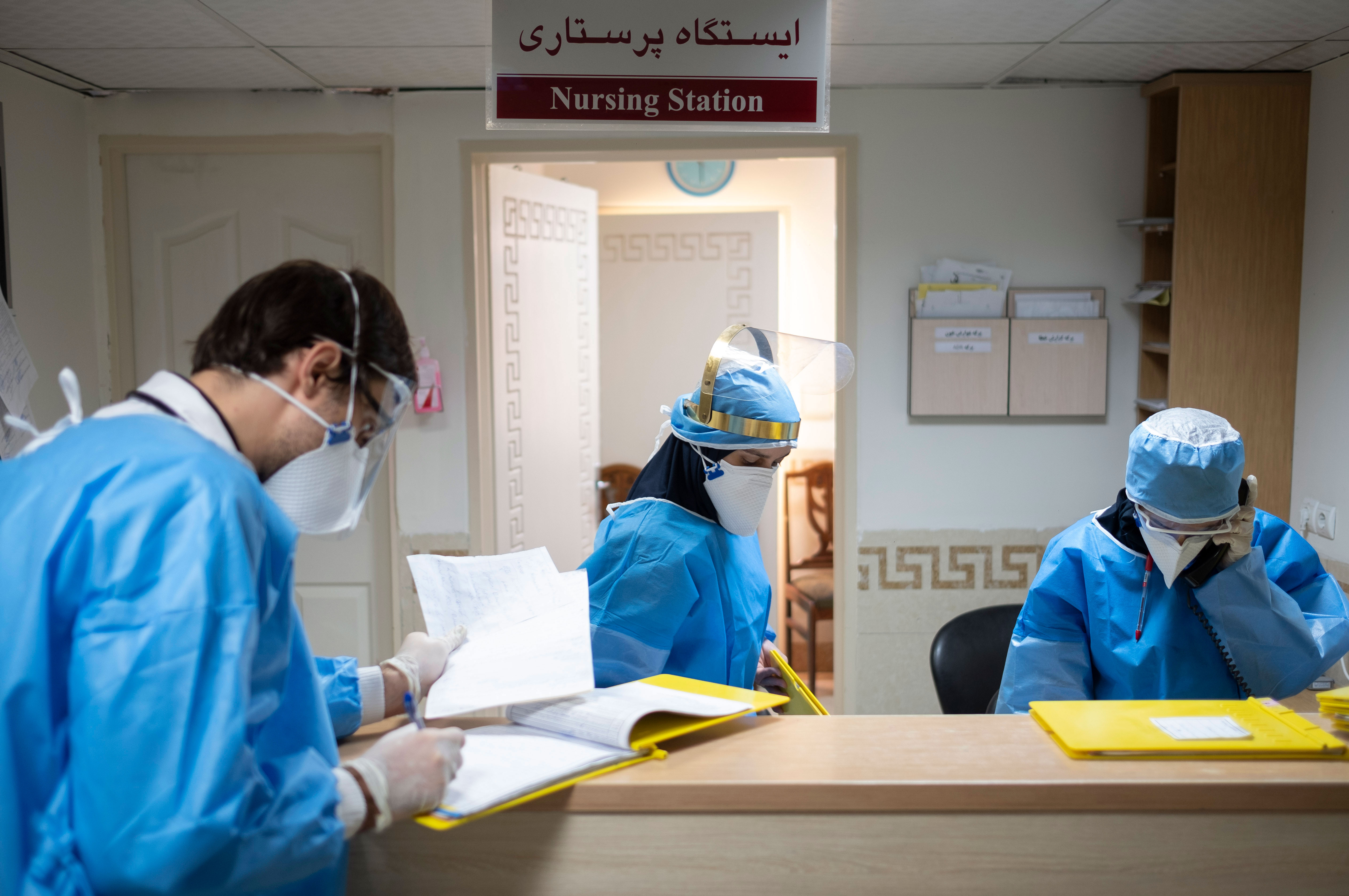 Medical personnel in Tehran, Iran, work in the Covid-19 section of the Ali Asghar Children's Hospital on September 6.