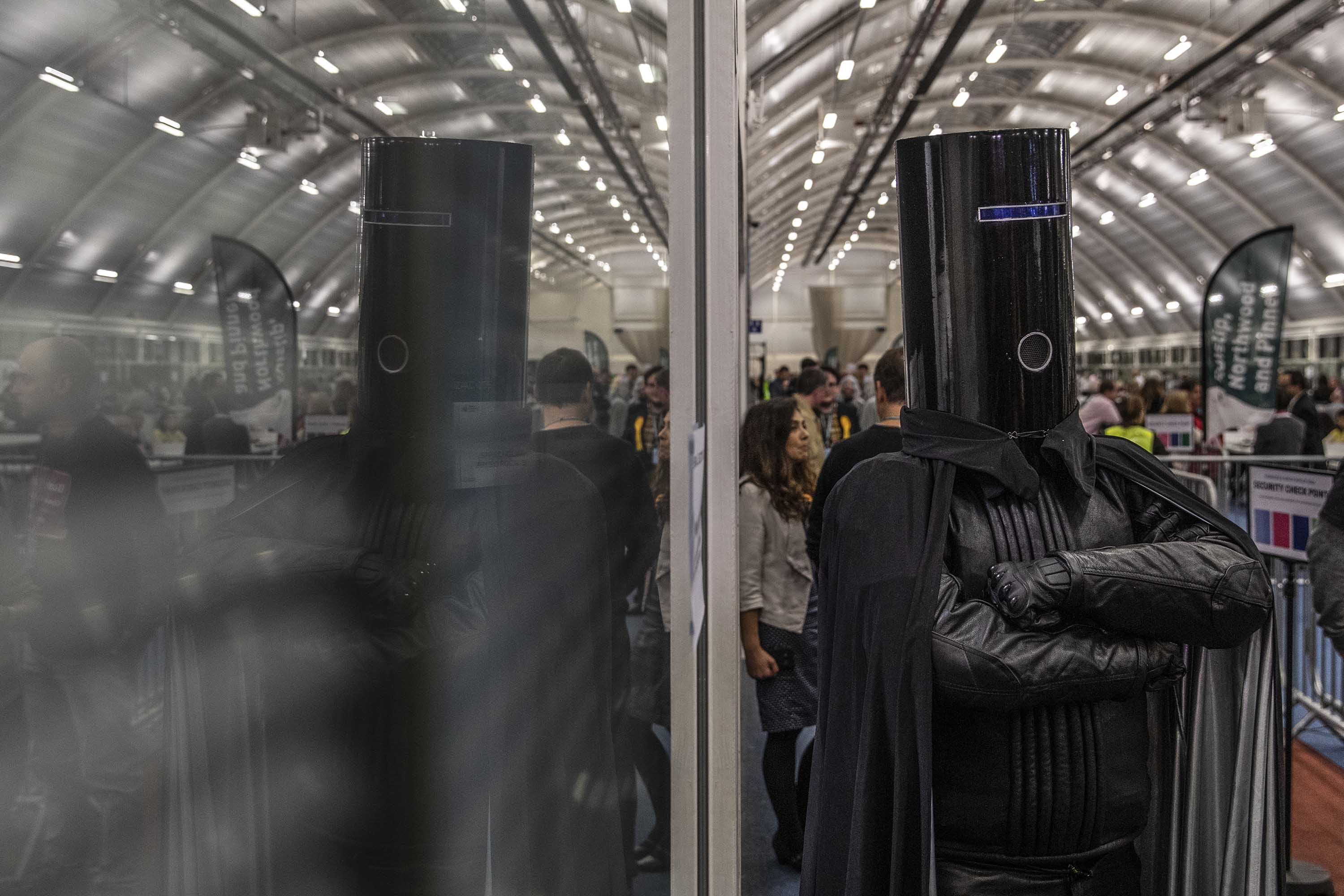 Independent candidate 'Lord Buckethead' jokes with members of the media as the count continues at the Uxbridge and South Ruislip. Photo: Dan Kitwood/Getty Images