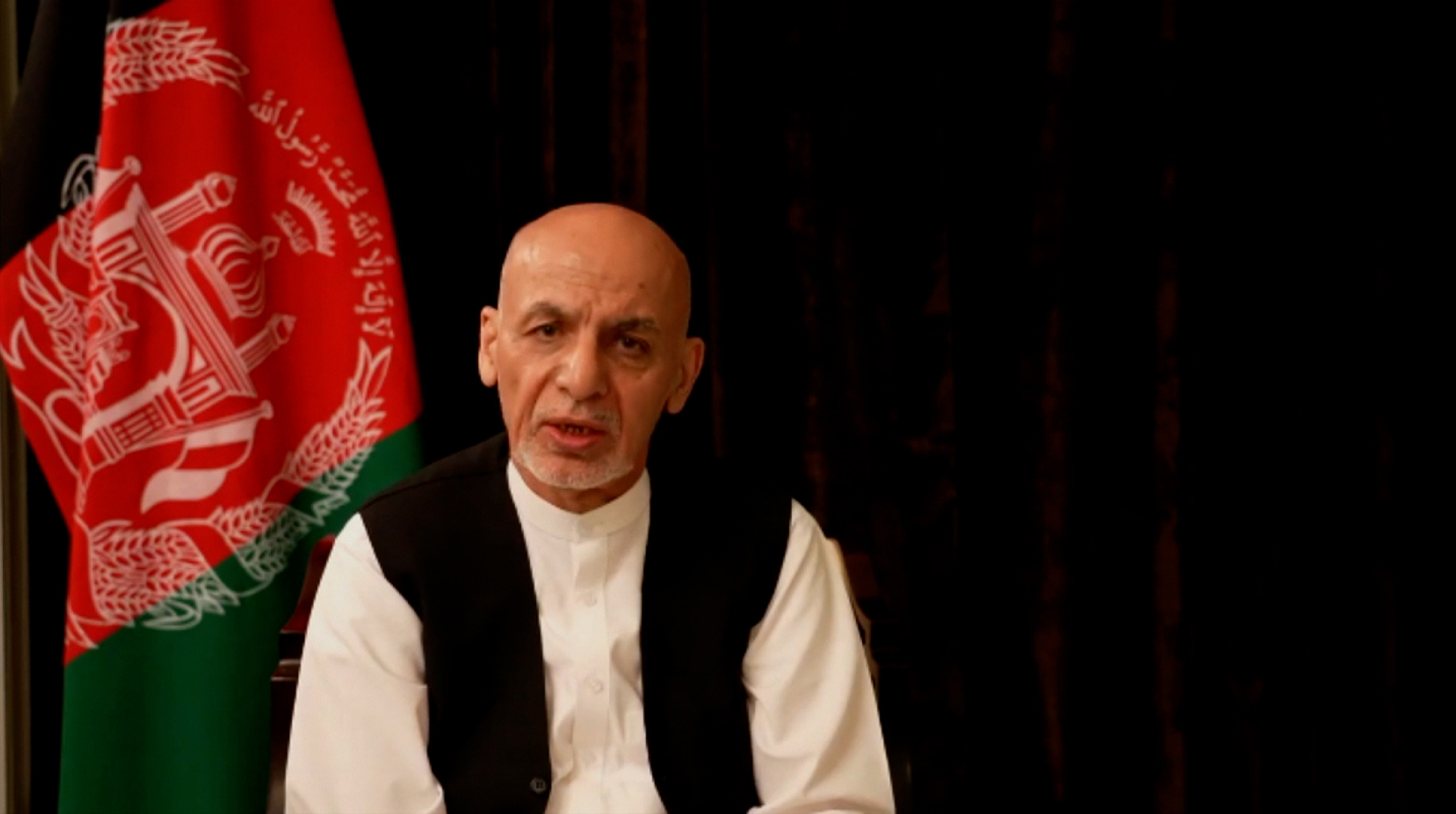Former Afghan President Ashraf Ghanispeaks in a video statement released on Wednesday from the United Arab Emirates.
