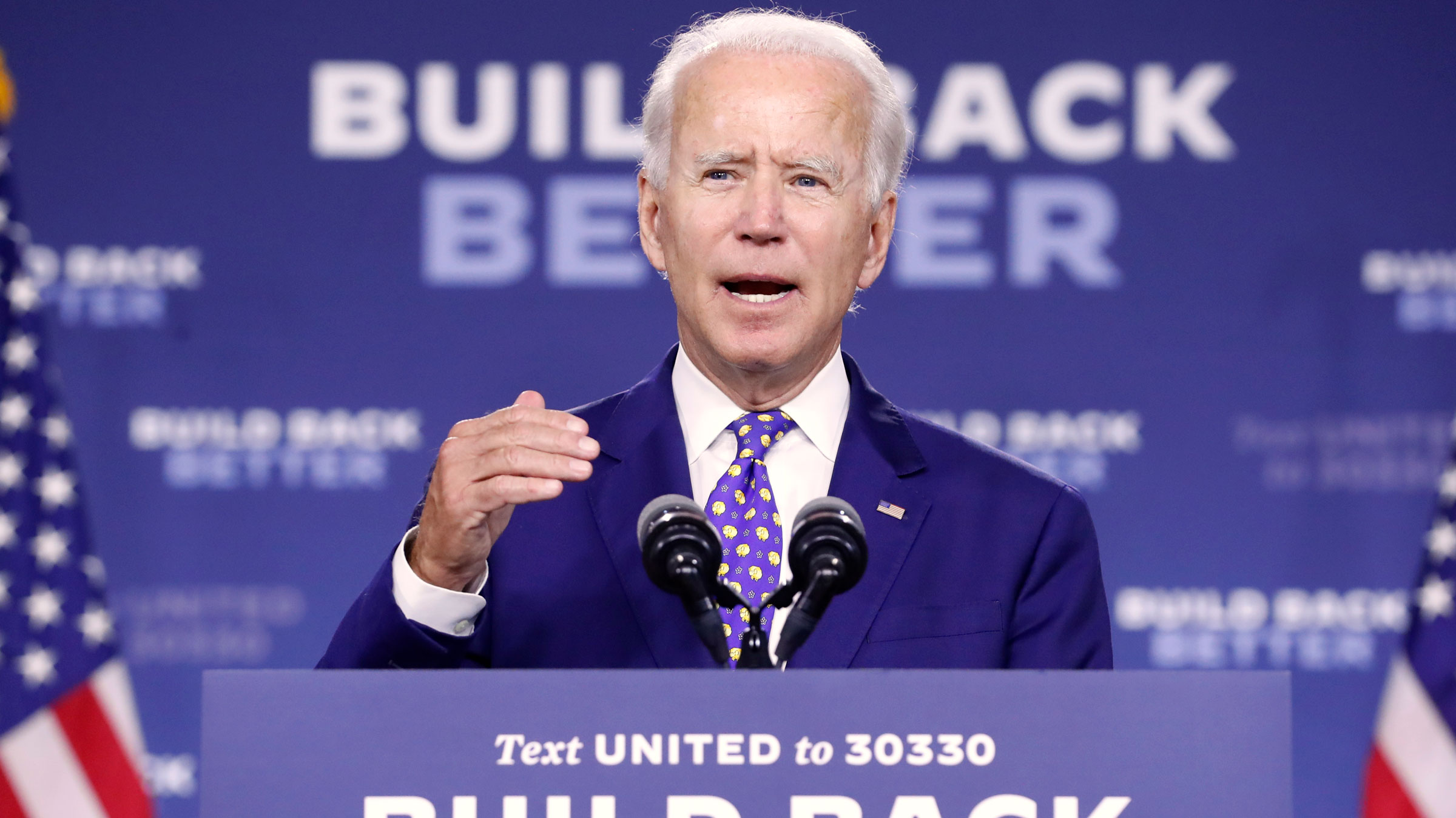 Joe Biden speaks at a campaign event in Wilmington, Delaware, on Tuesday.