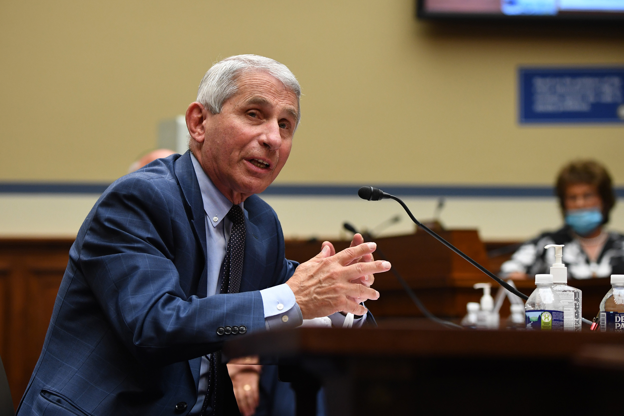 Dr. Anthony Fauci testifies during a House Subcommittee on a national plan to contain the Covid-19 pandemic, on Capitol Hill in Washington, DC on July 31.