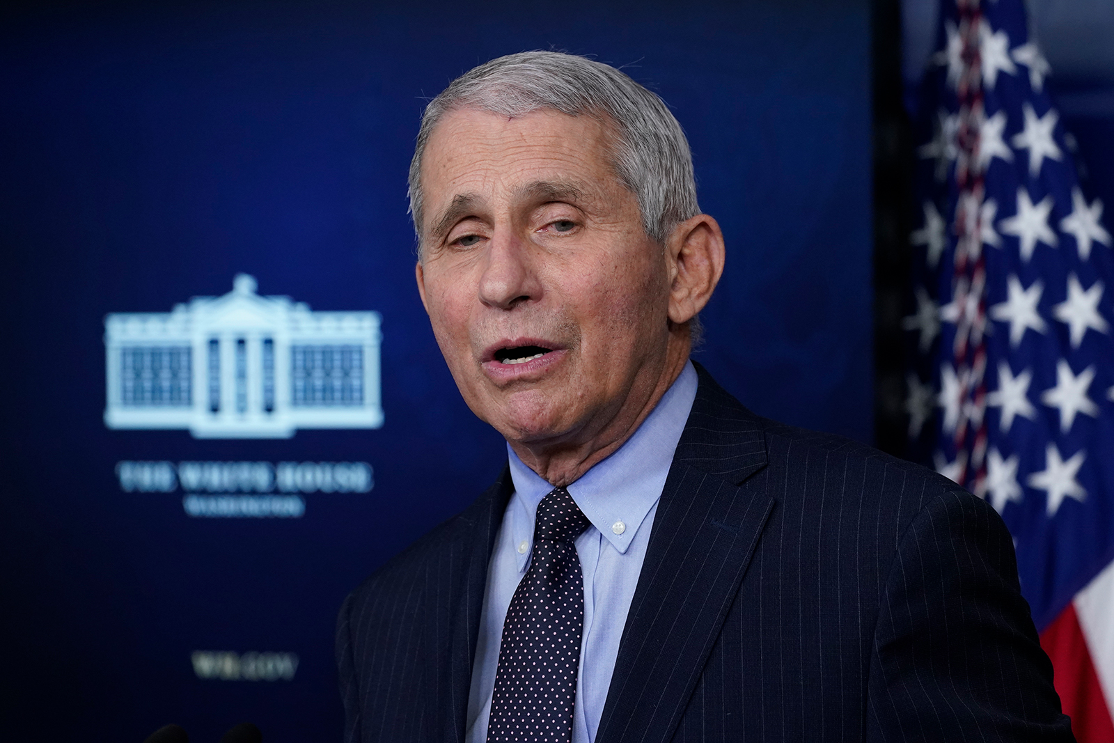 Dr. Anthony Fauci, director of the National Institute of Allergy and Infectious Diseases, speaks with reporters at the White House in Washington, DC, on January 21.