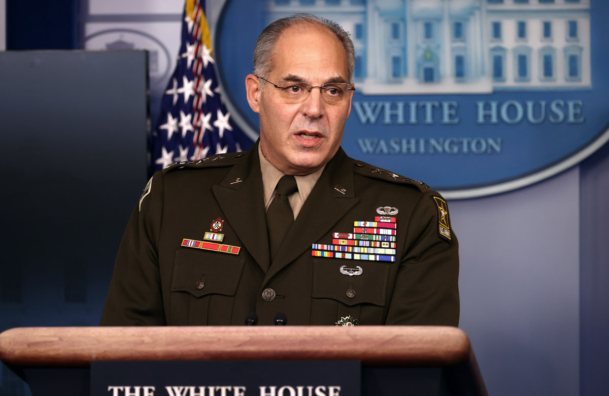 Gen. Gustave Perna, chief operating officer for the Defense Department's Project Warp Speed, speaks during a White House Coronavirus Task Force news briefing at the White House on Nov. 19.