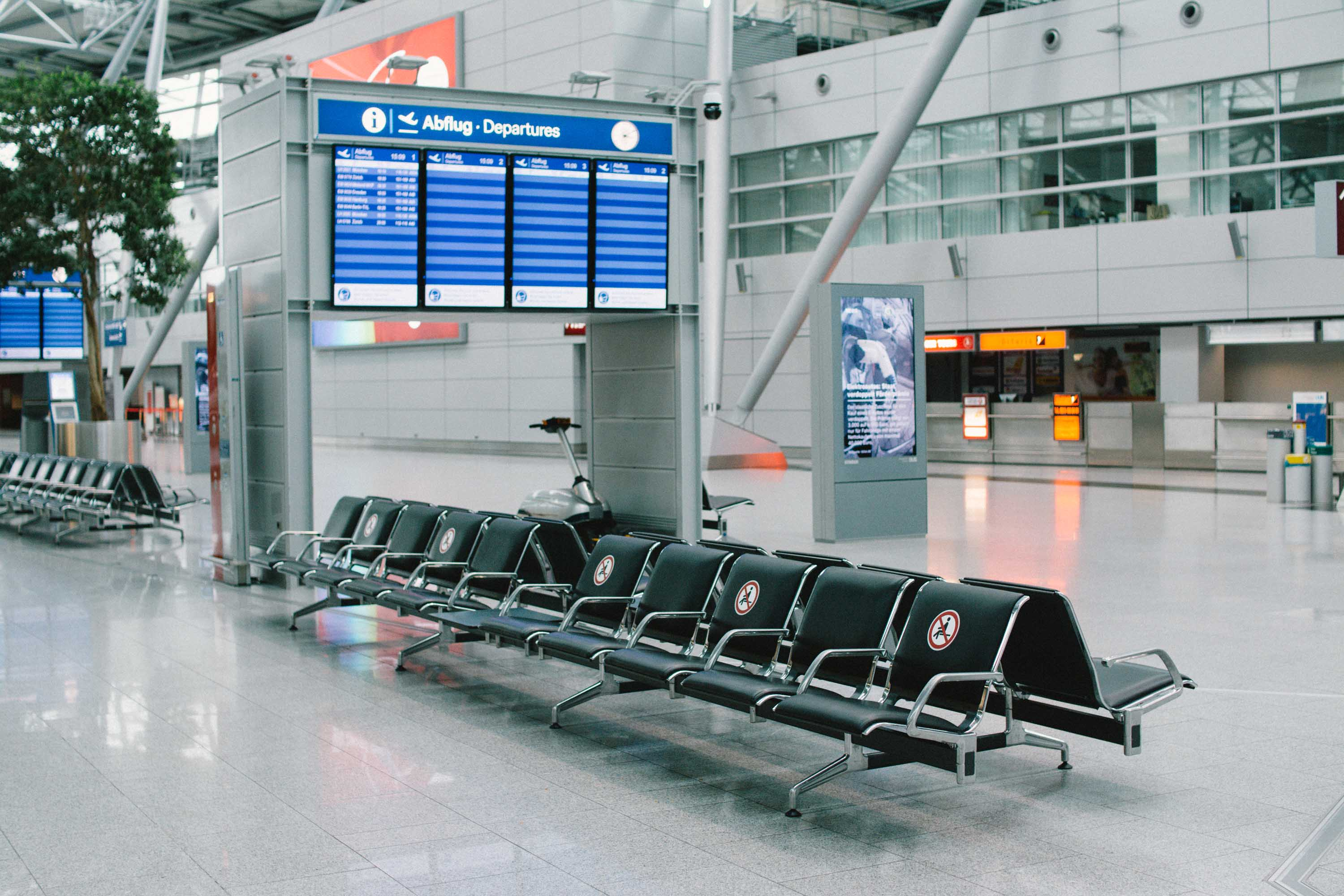 A nearly deserted departure area is seen at an airport in Duesseldorf, Germany, on June 5.