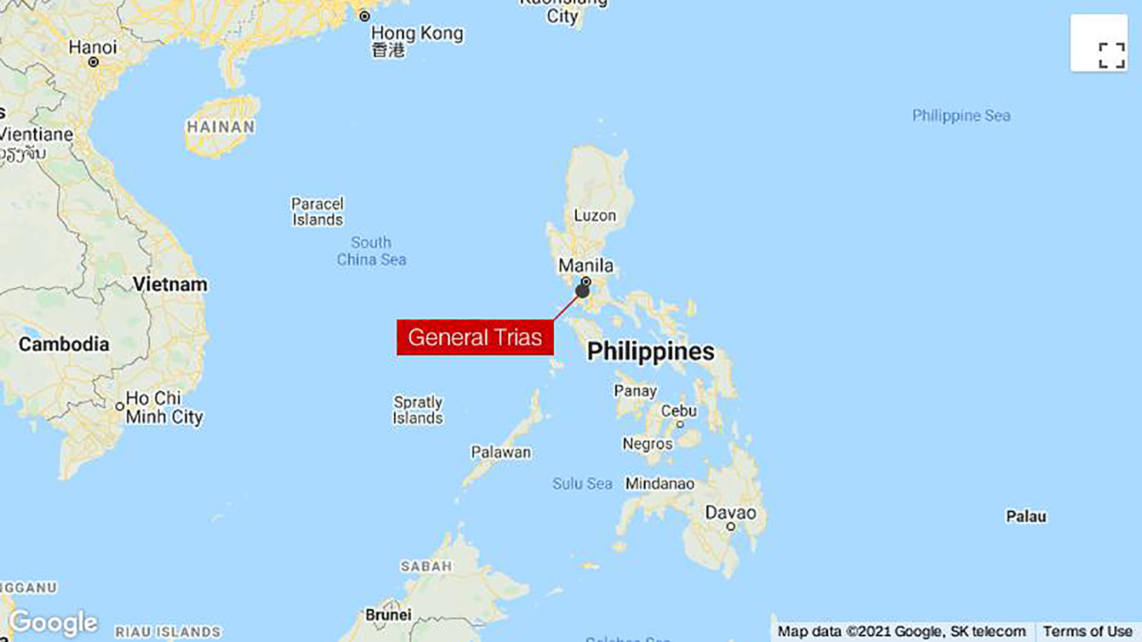 A map shows the location of General Trias in the Philippines.