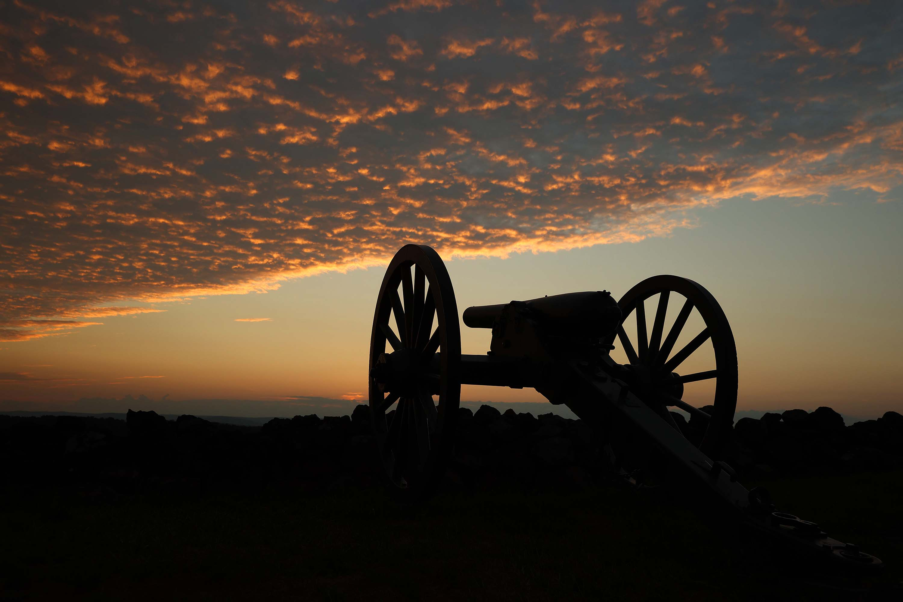 A canon stands at the Gettysburg National Military Park in Gettysburg, Pennsylvania, on August 11.