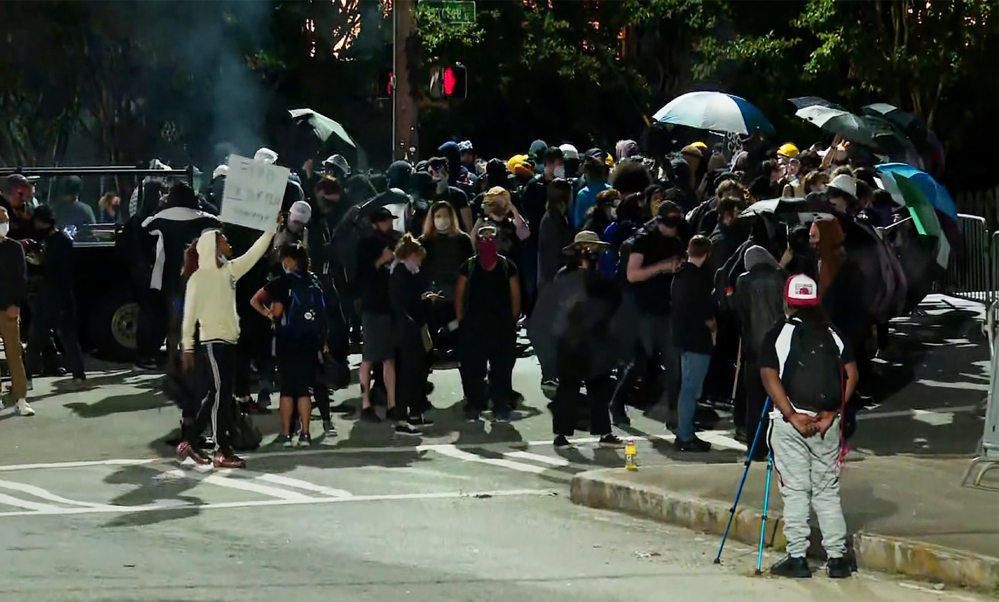 Protesters standing outside of Atlanta's Zone 3 police precinct.