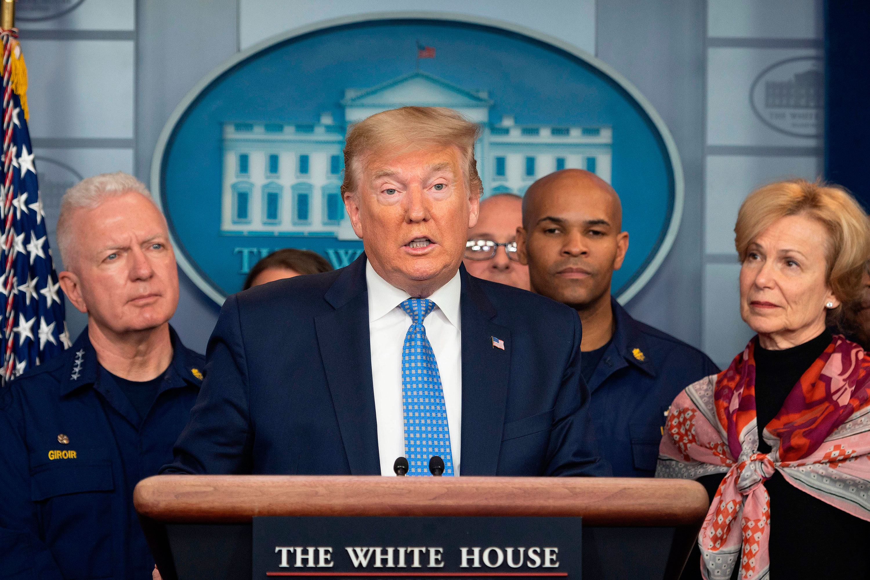President Donald Trump speaks during a press conference at the White House on March 15.