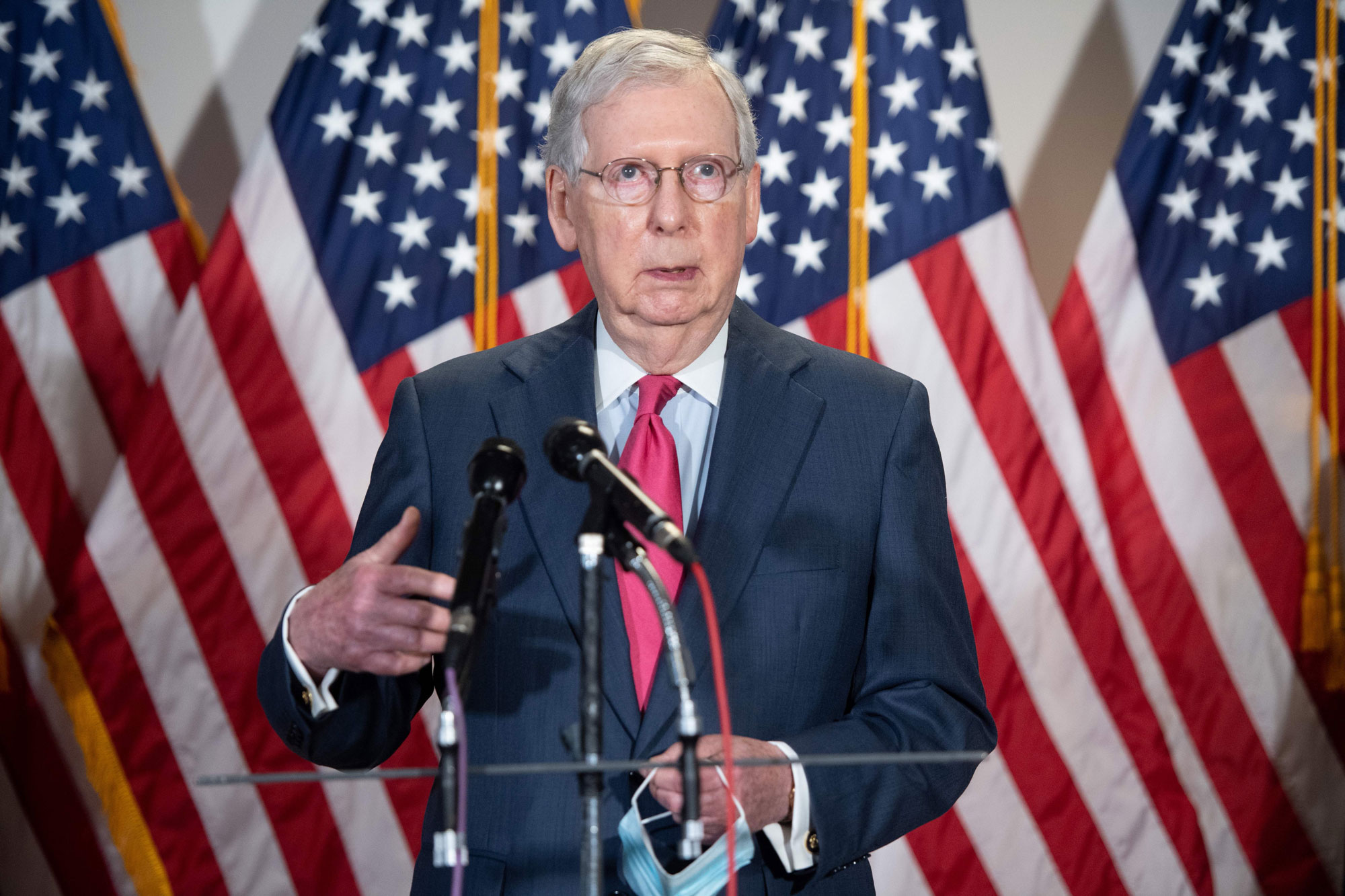 US Senate Majority Leader Mitch McConnell, Republican of Kentucky, speaks to the media on Capitol Hill in Washington on May 19.