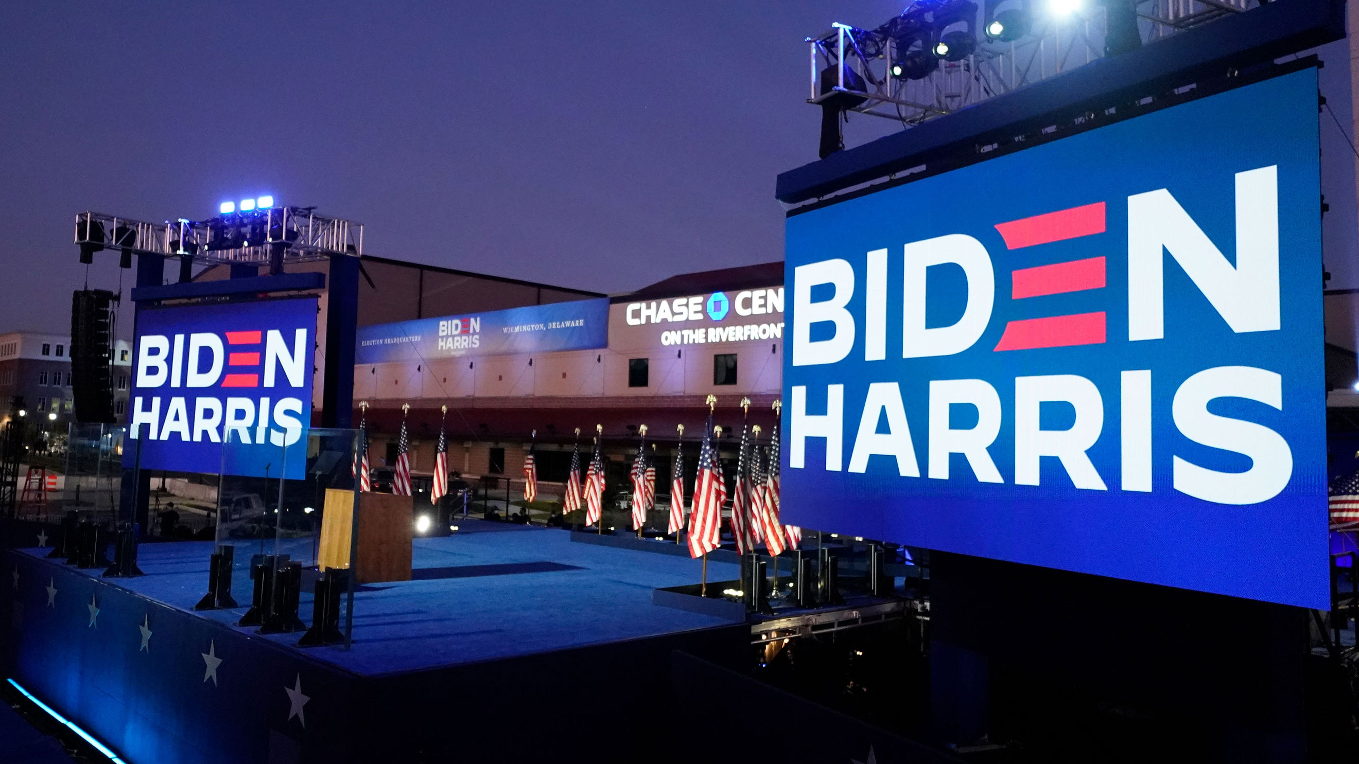 The stage is set for President-elect Joe Biden to speak on November 7 in Wilmington, Delaware