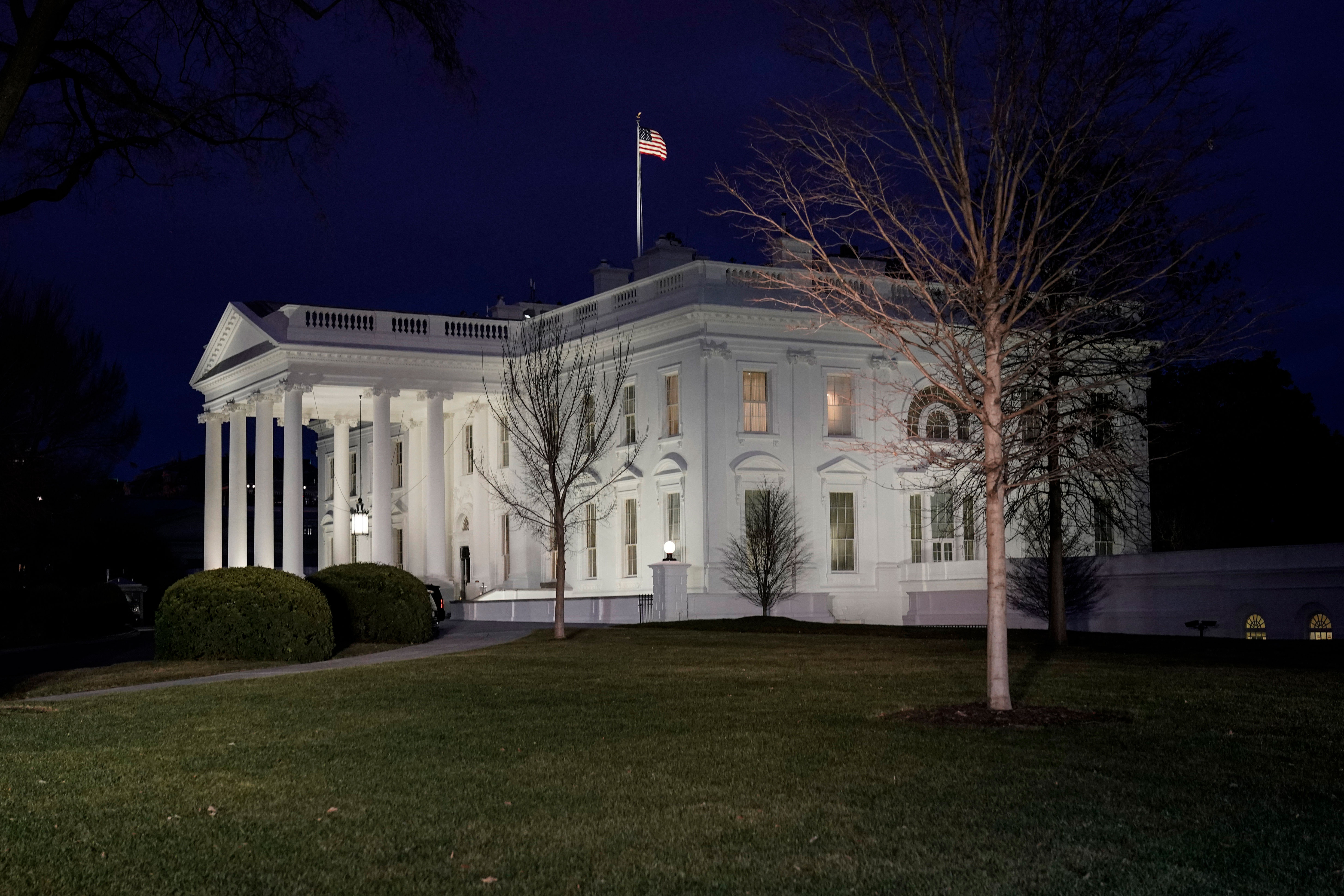The White House is pictured at dusk on January 6.
