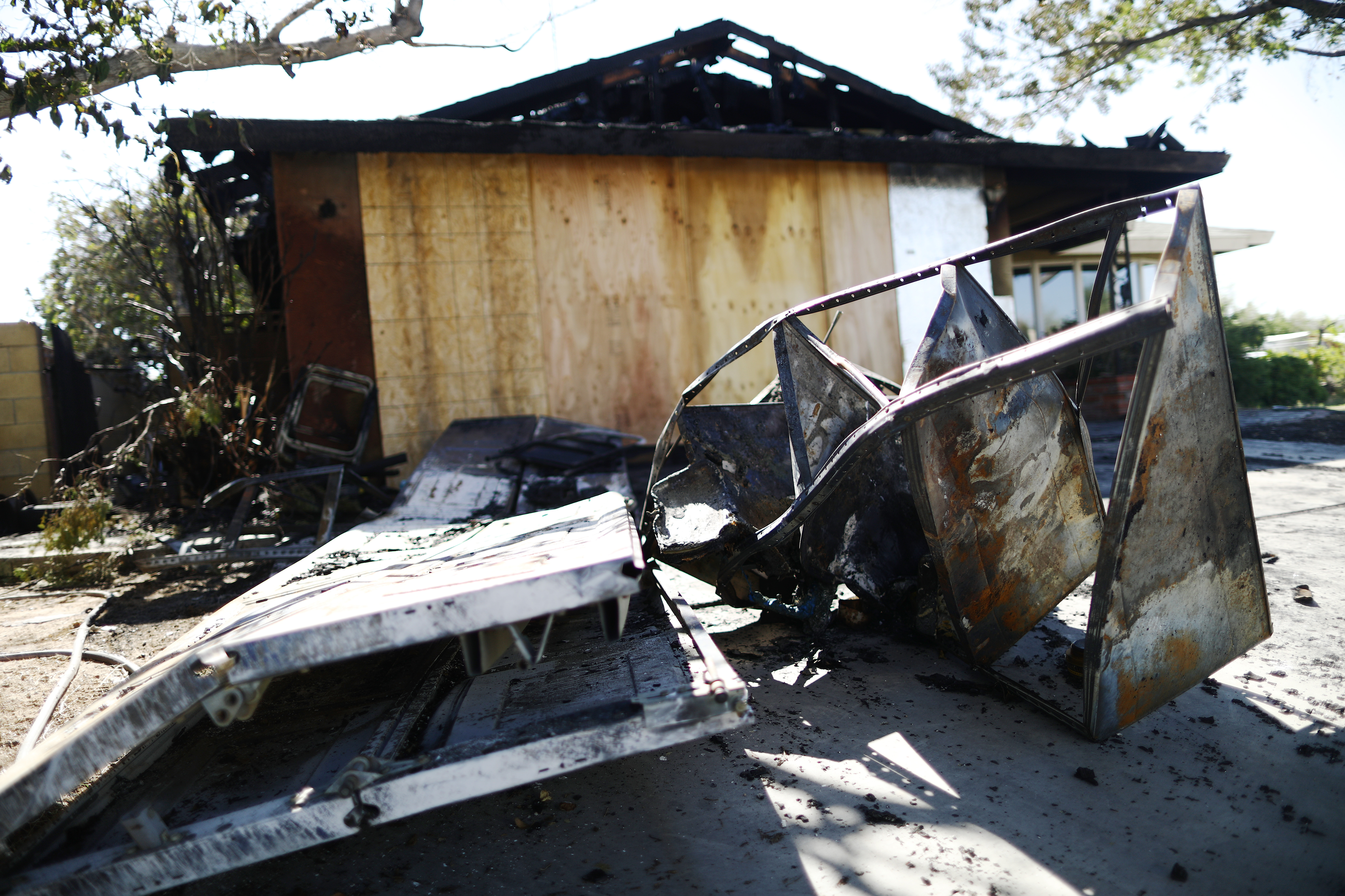 A home in Ridgecrest caught fire following a 6.4 magnitude earthquake on Thursday.