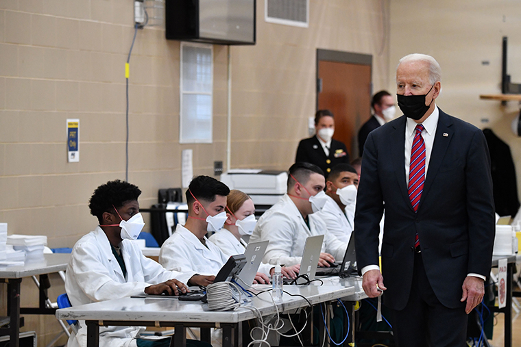 US President Joe Biden visits a coronavirus vaccination site at Walter Reed National Military Medical Center in Bethesda, Maryland, on January 29, 2021.