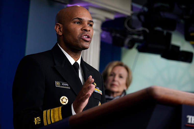 Surgeon General Jerome Adams speaks during press briefing with the coronavirus task force, at the White House, Thursday, March 19.