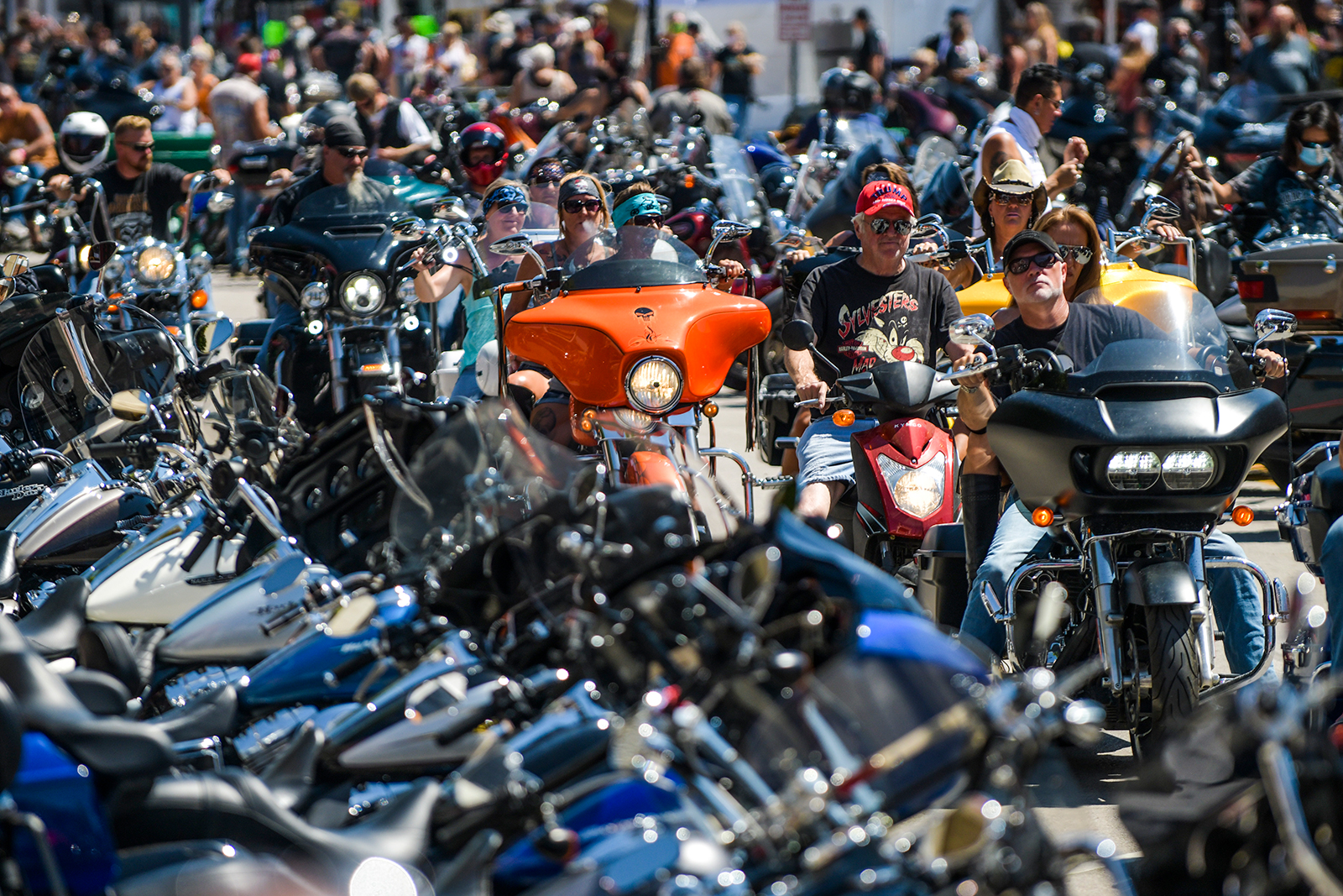 Motorcyclists ride on Main Street during the 80th annual Sturgis Motorcycle Rally in Sturgis, South Dakota on August 7.