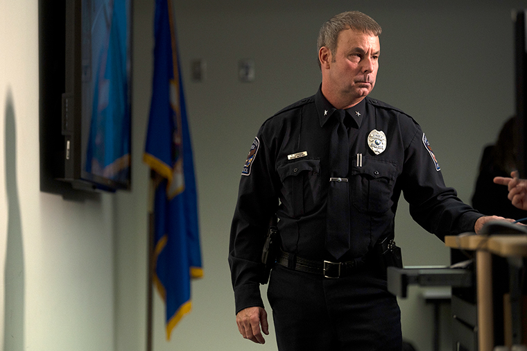 Tim Gannon looks seen during a press conference at the Brooklyn Center police headquarters on April 12,  in Brooklyn Center, Minnesota.