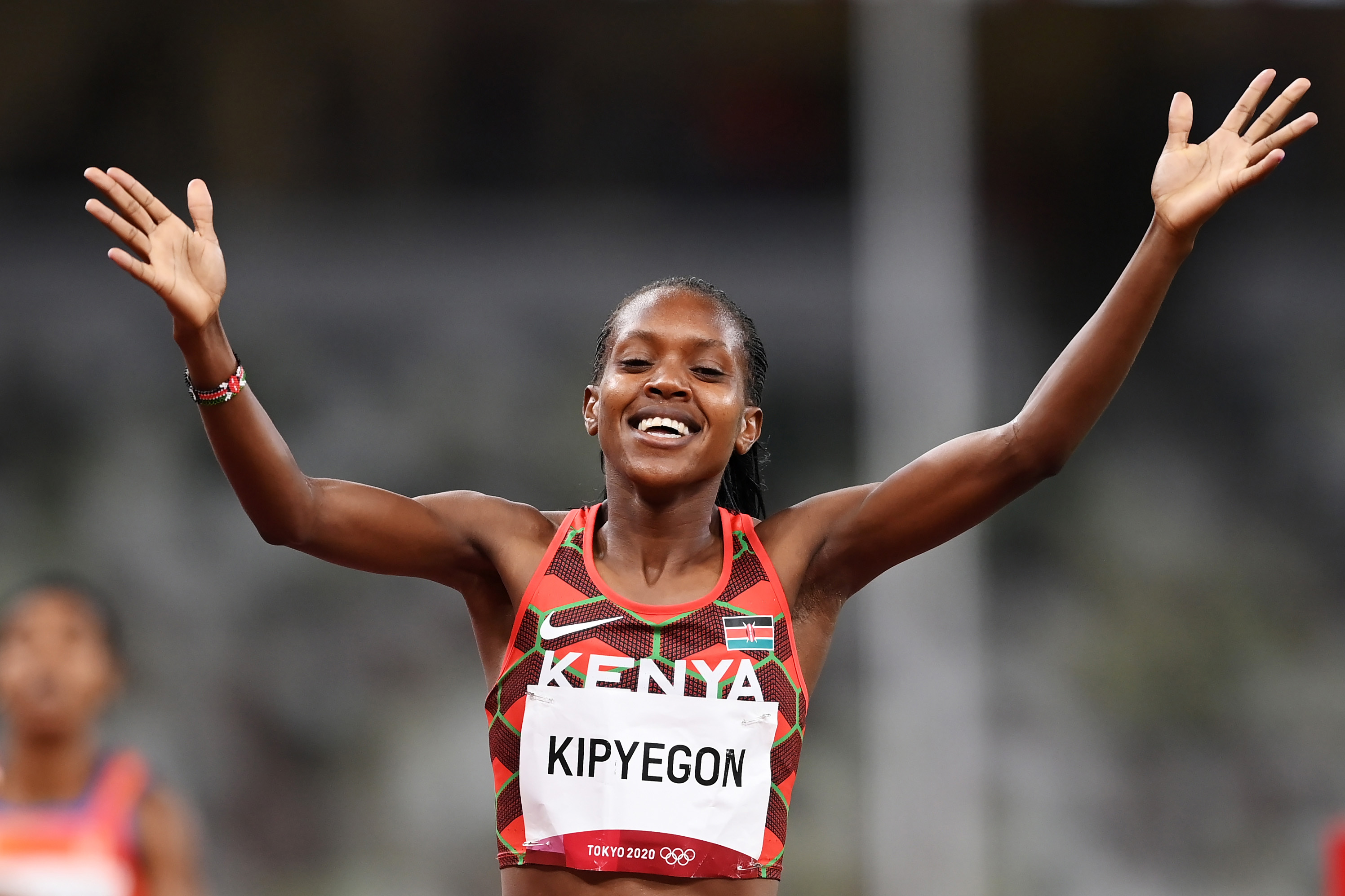 Kenya's Faith Kipyegon wins the gold medal in the women's 1,500 meters on August 6.