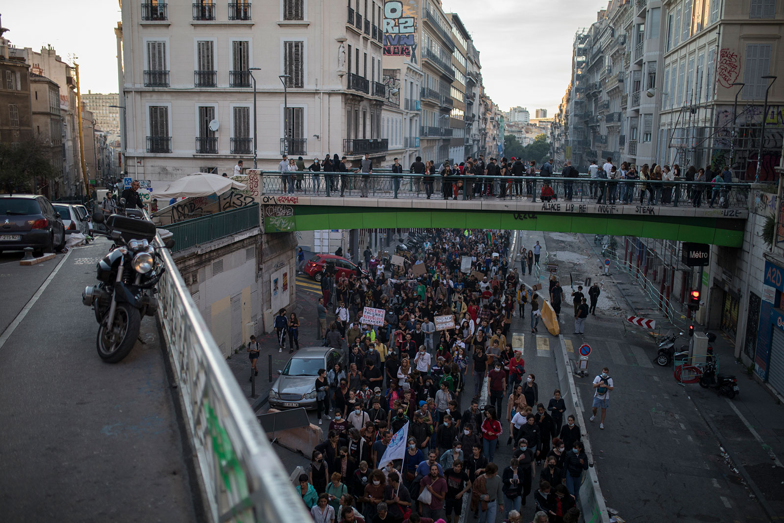 Protesters march in Marseille, France, on Saturday, June 13.