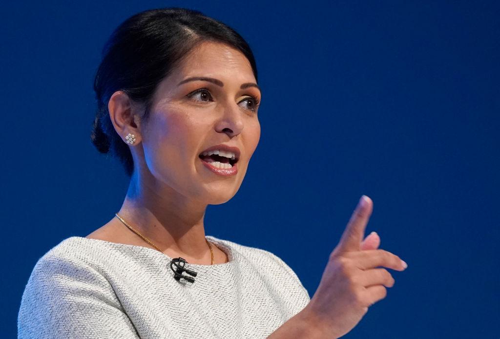 Priti Patel addresses delegates in Manchester Central on October 1, 2019.