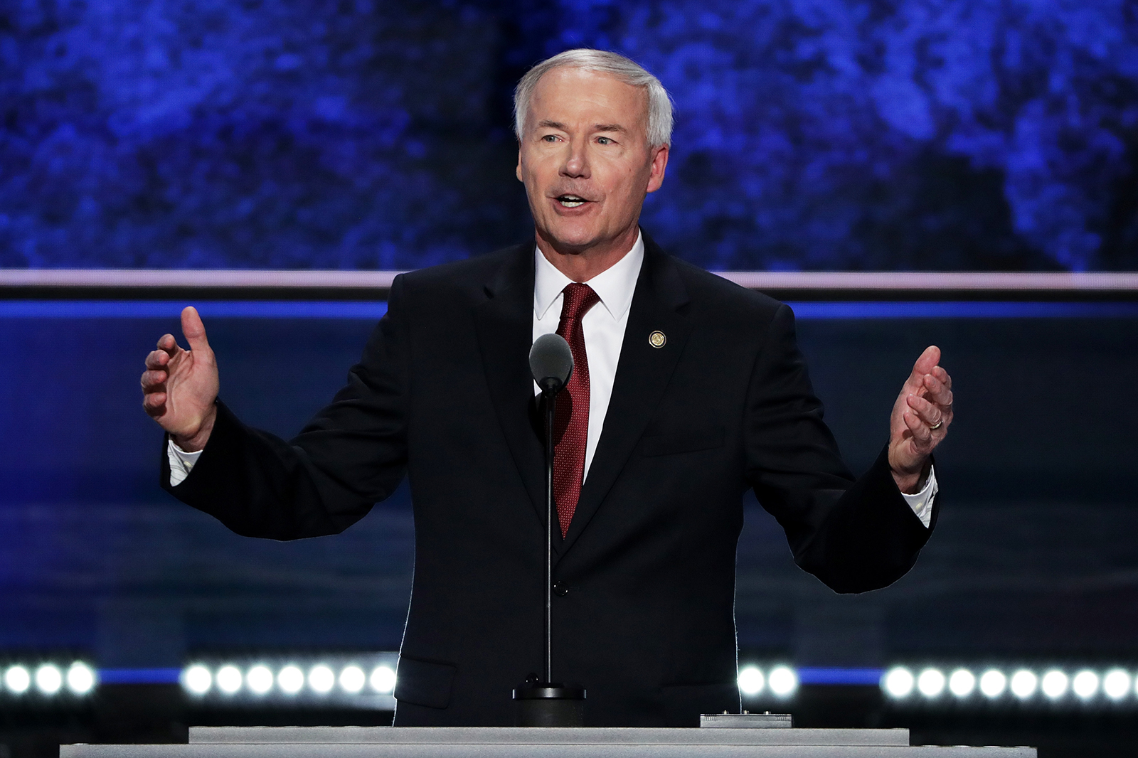 Arkansas Gov. Asa Hutchinson pictured at the Republican National Convention on July 19, 2016 in Cleveland, Ohio.