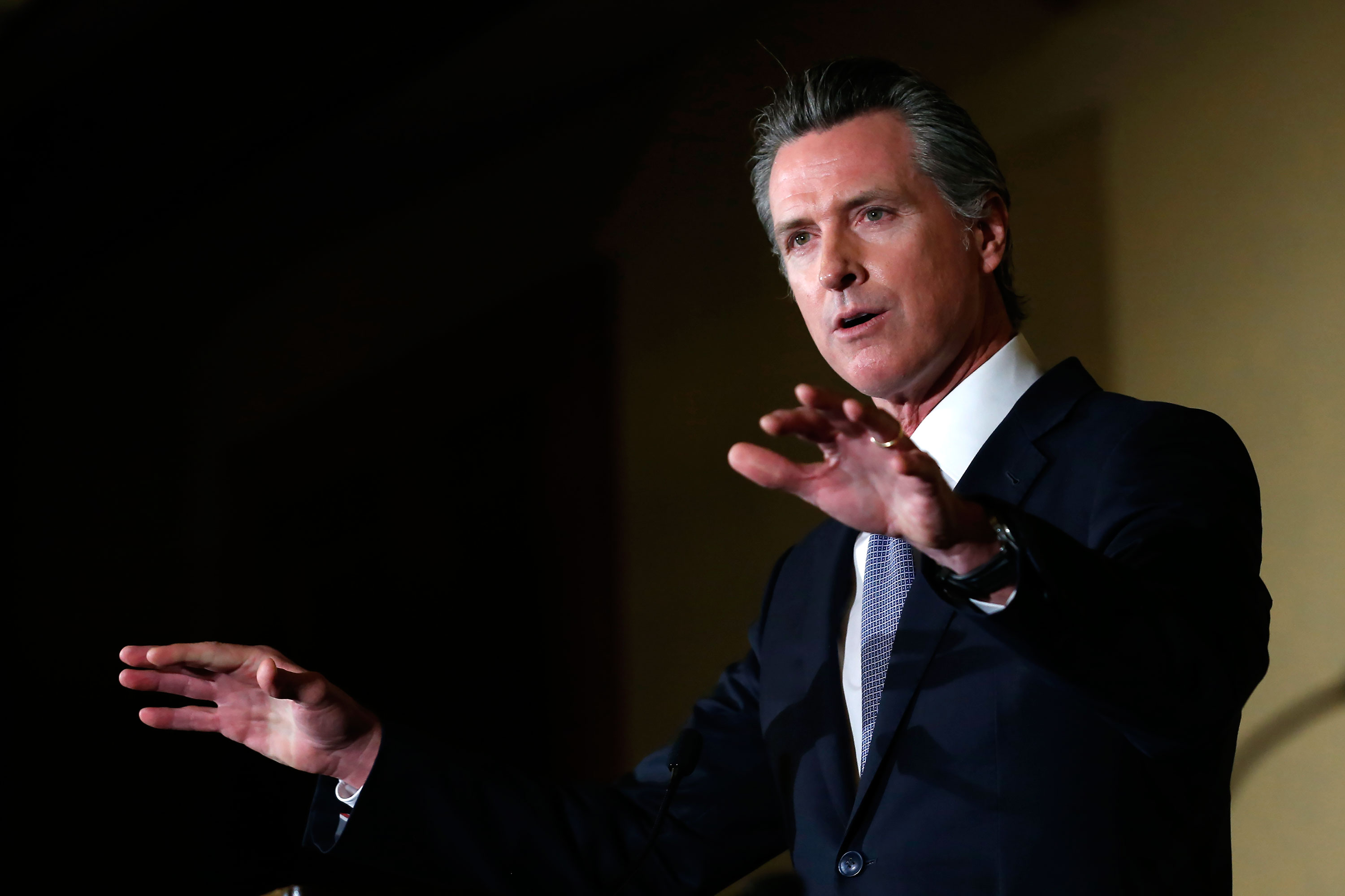 California Gov. Gavin Newsom speaks at the Chief Probation Officers of California Conference in Sacramento, California, on February 26.