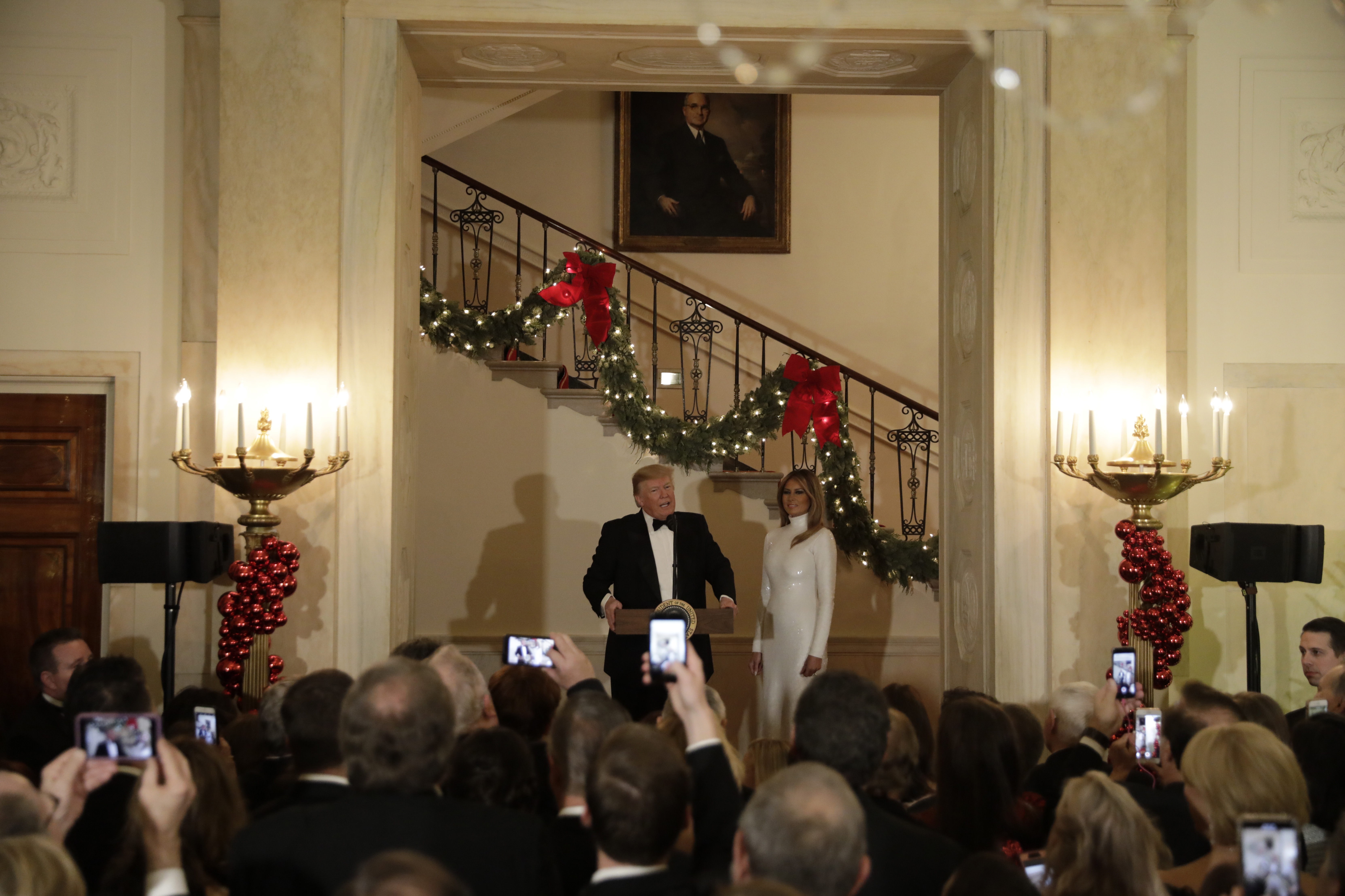 President Trump and Melania Trump attend the 2018 Congressional Ball at the White House.