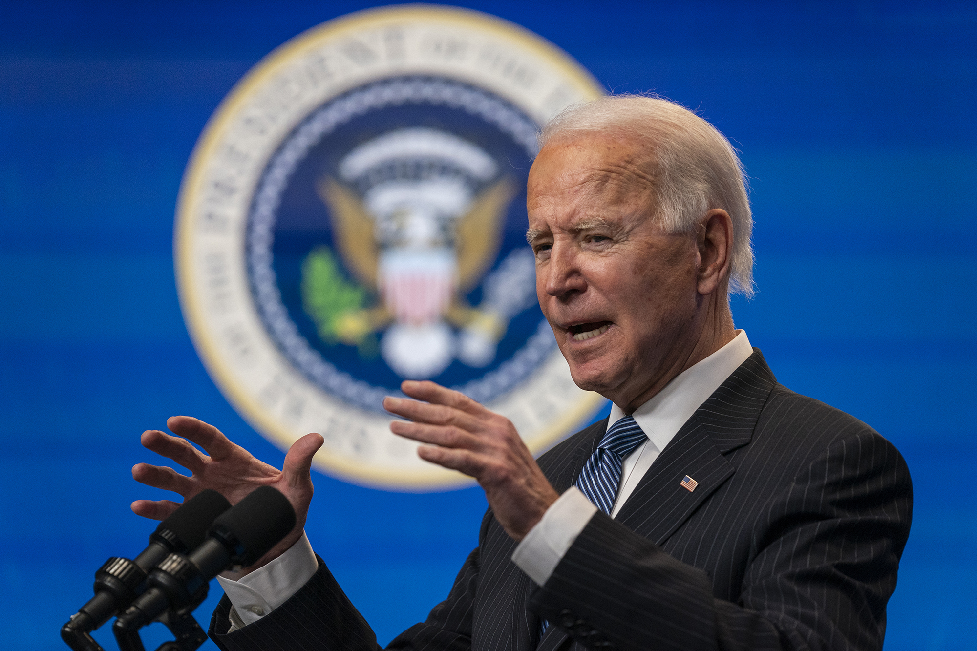 President Joe Biden speaks during an event on American manufacturing, in the South Court Auditorium on the White House complex on Monday, January 25, in Washington.