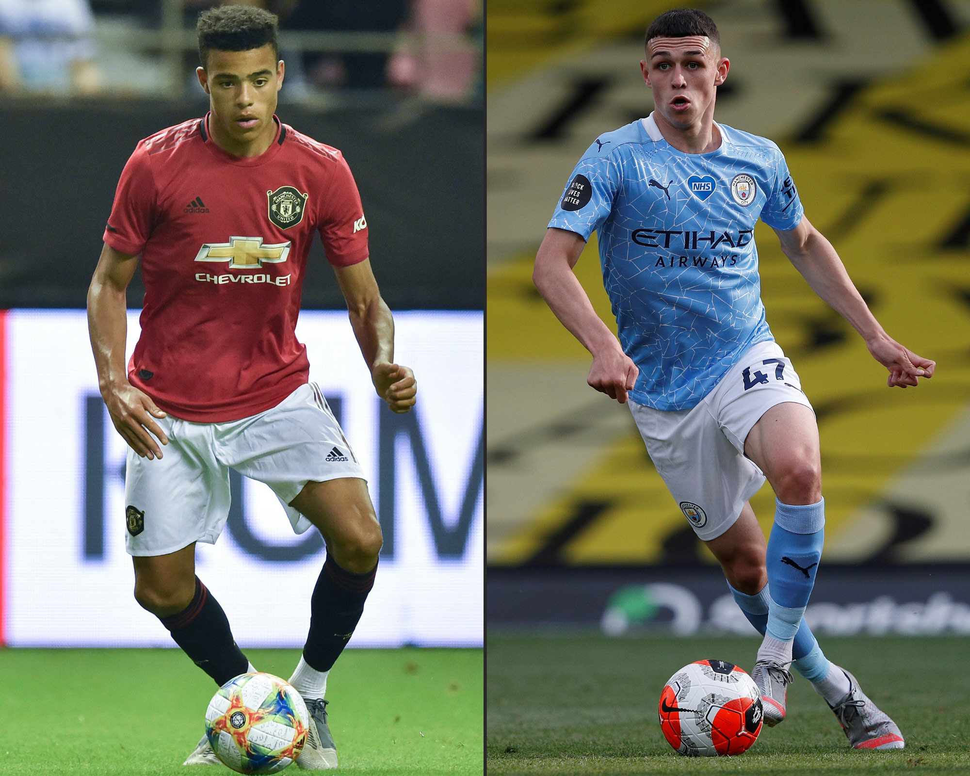 This combination of pictures shows Manchester United's Mason Greenwood, left, and Manchester City's English midfielder Phil Foden.