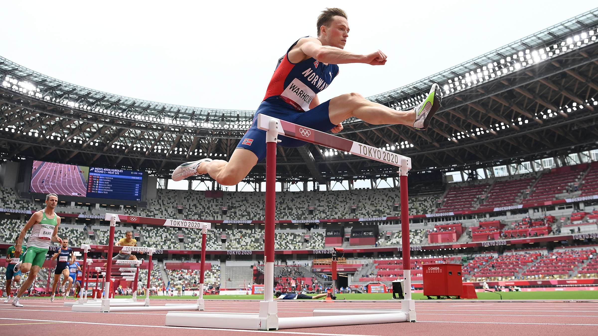 Norway's Karsten Warholm competes in the 400m hurdles heats on Friday, July 30.