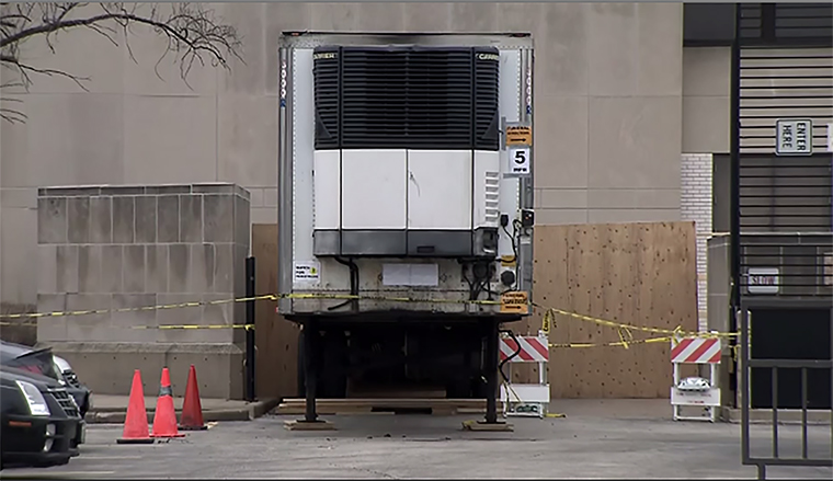 A efrigerated trailer outside the medical examiner's office in Chicago, Illinois.