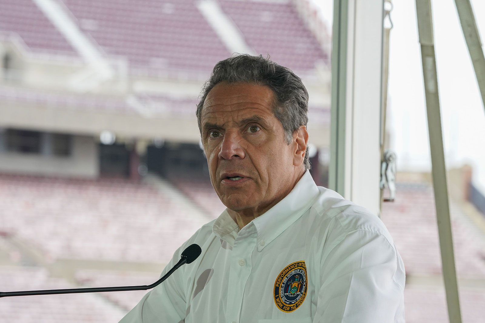 New York Governor Andrew Cuomo speaks at a press conference at the Theater at Jones Beach in Long Island on May 24. Cuomo's office criticized Dublin Deck Tiki Bar and Grill for allegedly easing restrictions on masks and social distancing for its customers because of rainy weather on Friday.