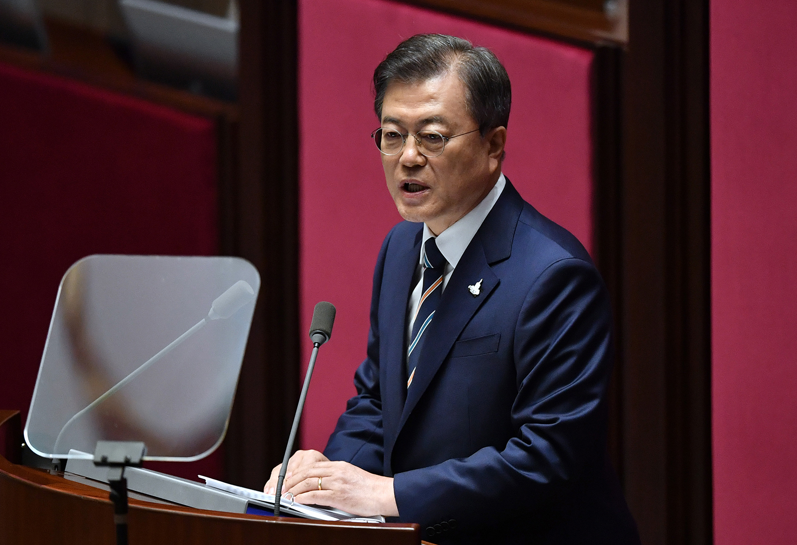 South Korea's President Moon Jae-in delivers a speech during the opening ceremony of the 21st National Assembly term in Seoul, South Korea, on July 16.