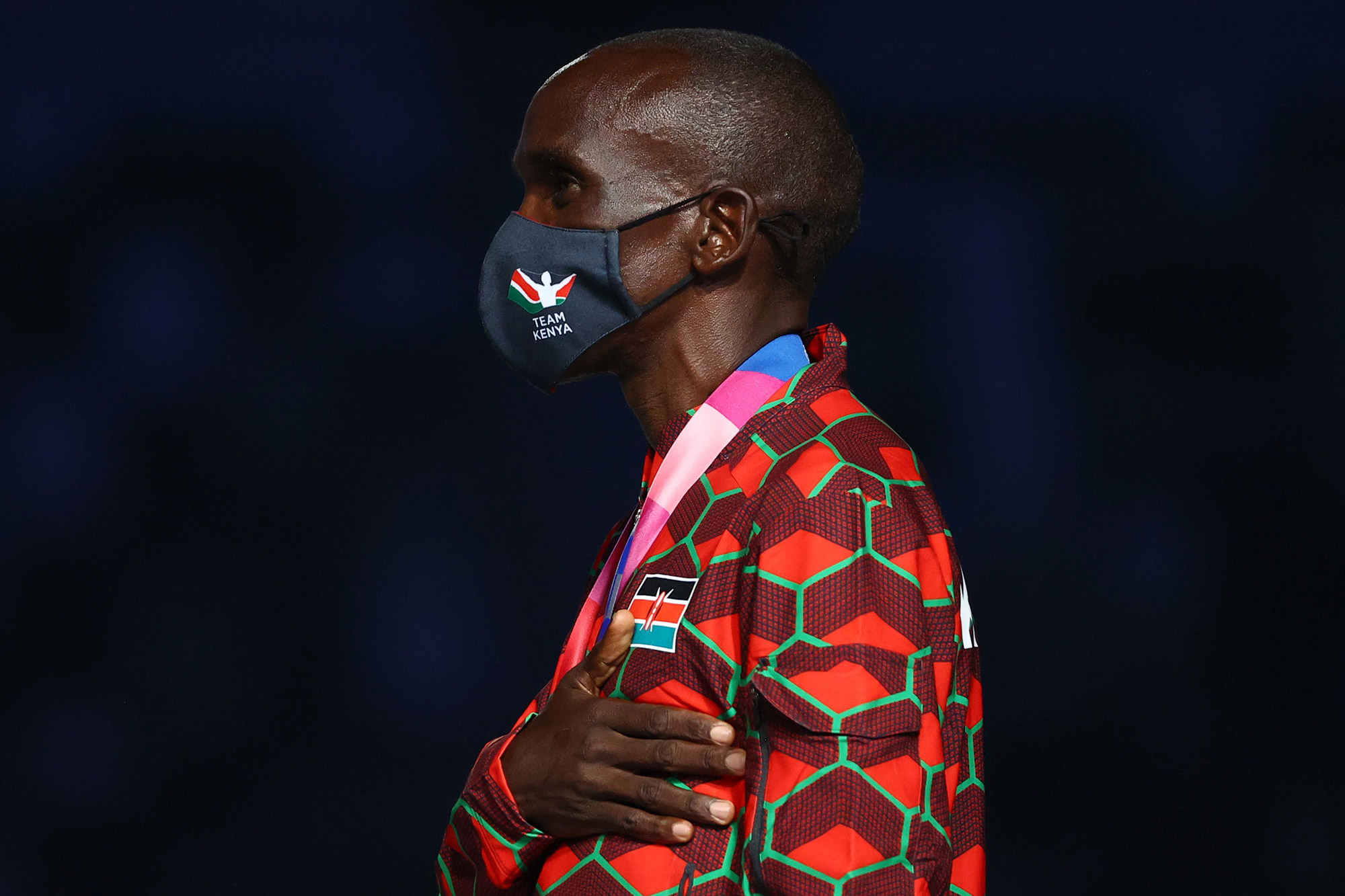 Kenya's Eliud Kipchoge, who won the gold medal in the marathon, listens as his country's National Anthem is played during his medal ceremony on August 8. The medal ceremonies for both the men's and women's marathon took place during the closing ceremony. And that meant two playings of the Kenyan National Anthem, as Kenya's Peres Jepchirchir won gold in the women's event.