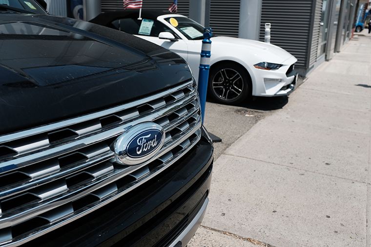 Cars for sale at a Ford dealership on May 20, 2019 in the Queens borough of New York City.