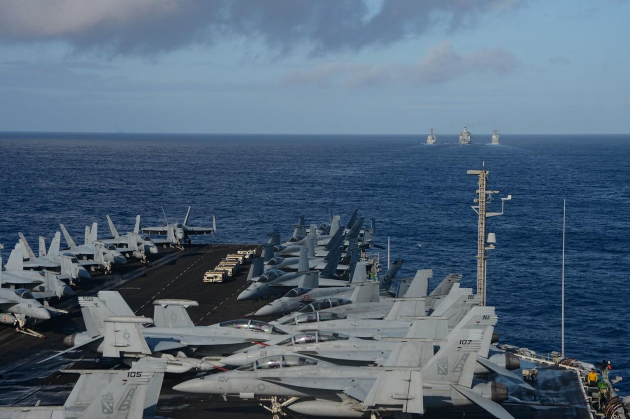 The USS Harry S Truman transits the Atlantic Ocean on April 11.