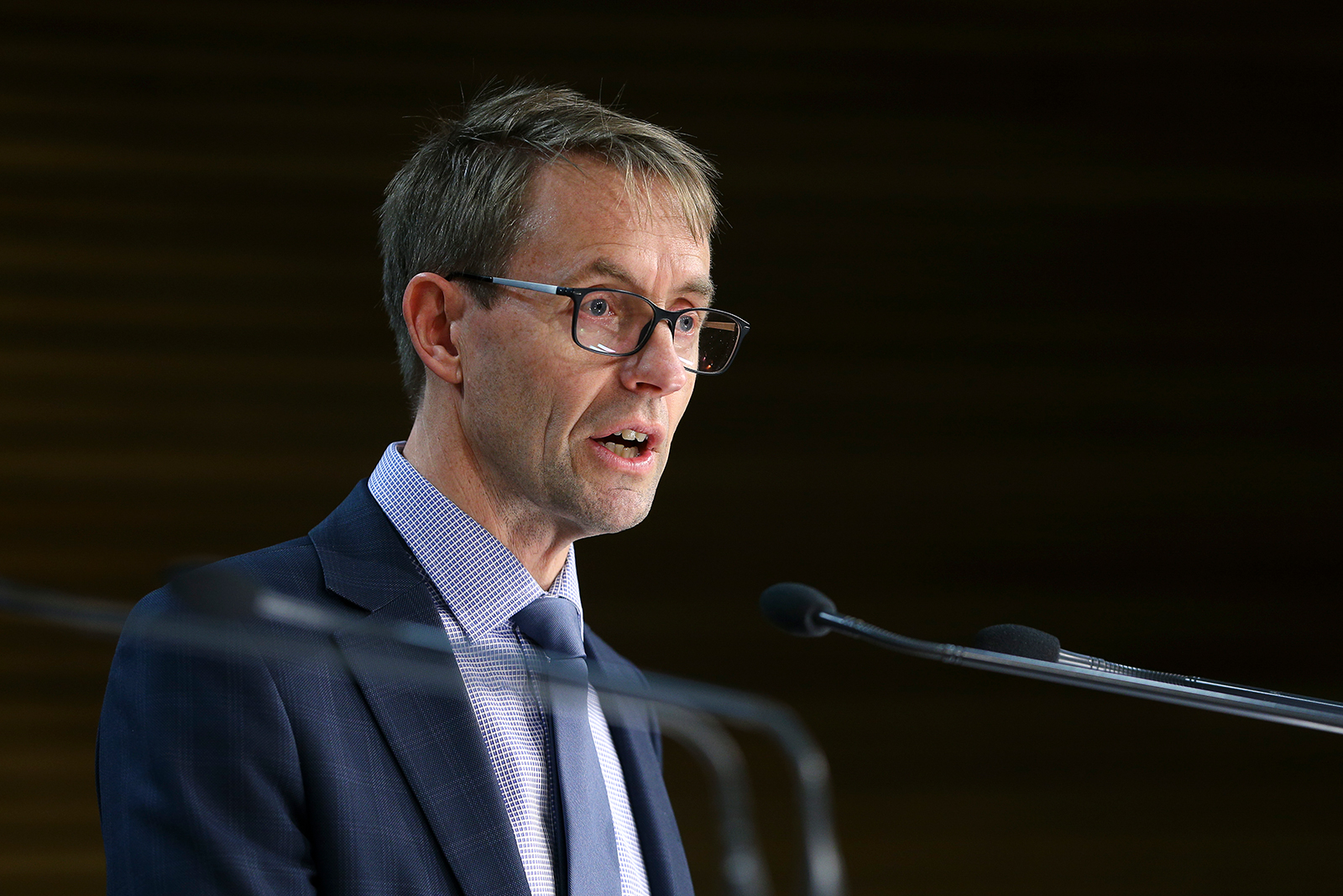 Director-General of Health Dr. Ashley Bloomfield speaks to media during a news conference at Parliament in Wellington, New Zealand on August 6.