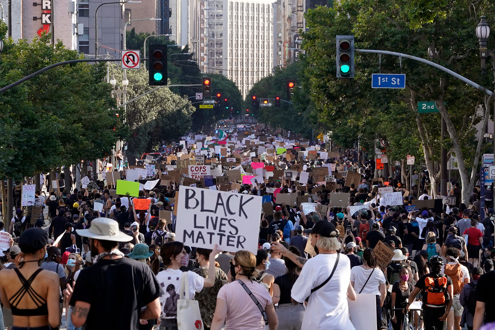 Protesters march through downtown Los Angeles on June 3.