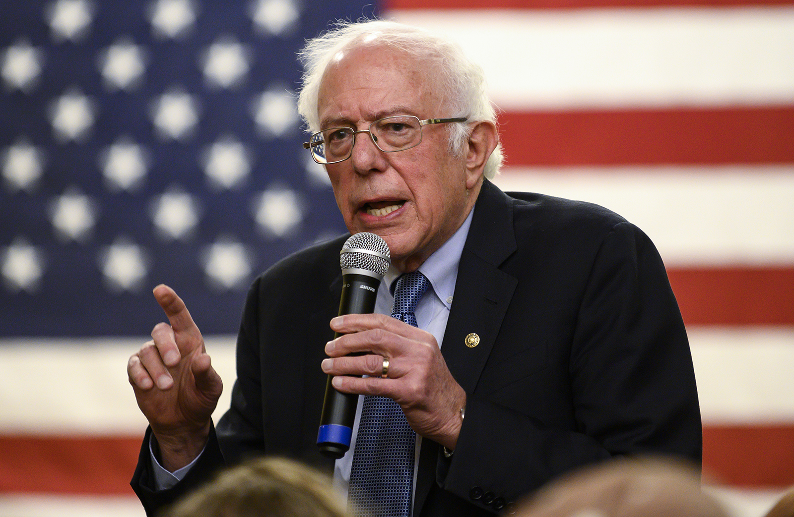 Democratic presidential candidate Sen. Bernie Sanders speaks at town hall at the National Motorcycle Museum on January 3, in Anamosa, Iowa.