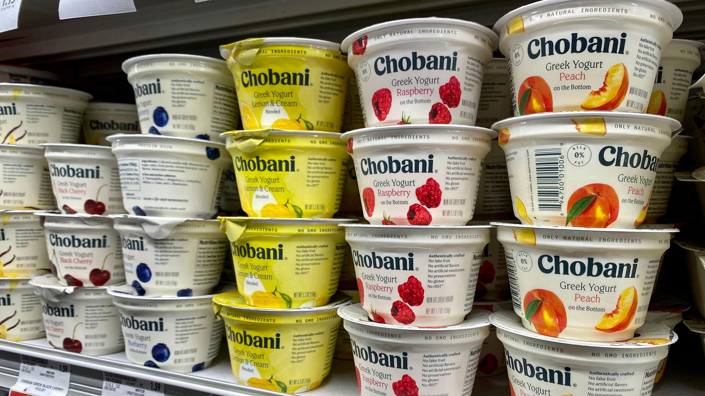 Cups of Chobani greek yogurt sit on a supermarket shelf in San Jose, California.