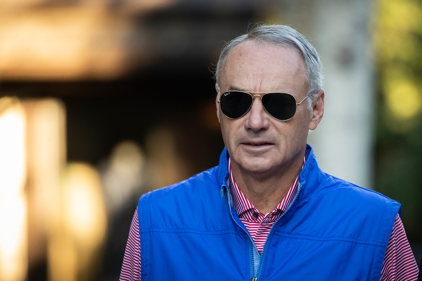 In this July 12, 2019 photo, Rob Manfred, commissioner of Major League Baseball, attends the annual Allen & Company Sun Valley Conference in Sun Valley, Idaho.