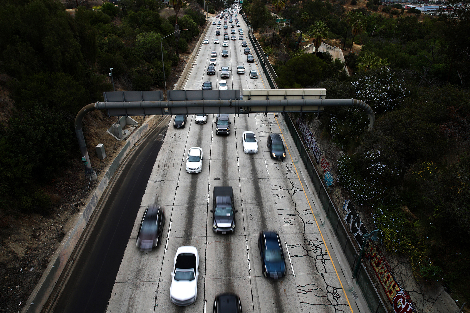 Cars make their way down the aging 110 freeway toward downtown L.A. during the morning commute on April 22 in Los Angeles.