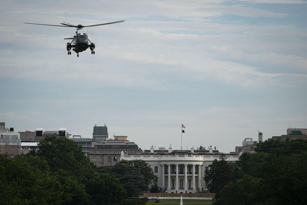 US President Joe Biden departs the White House onboard Marine One on Wednesday, June 9.