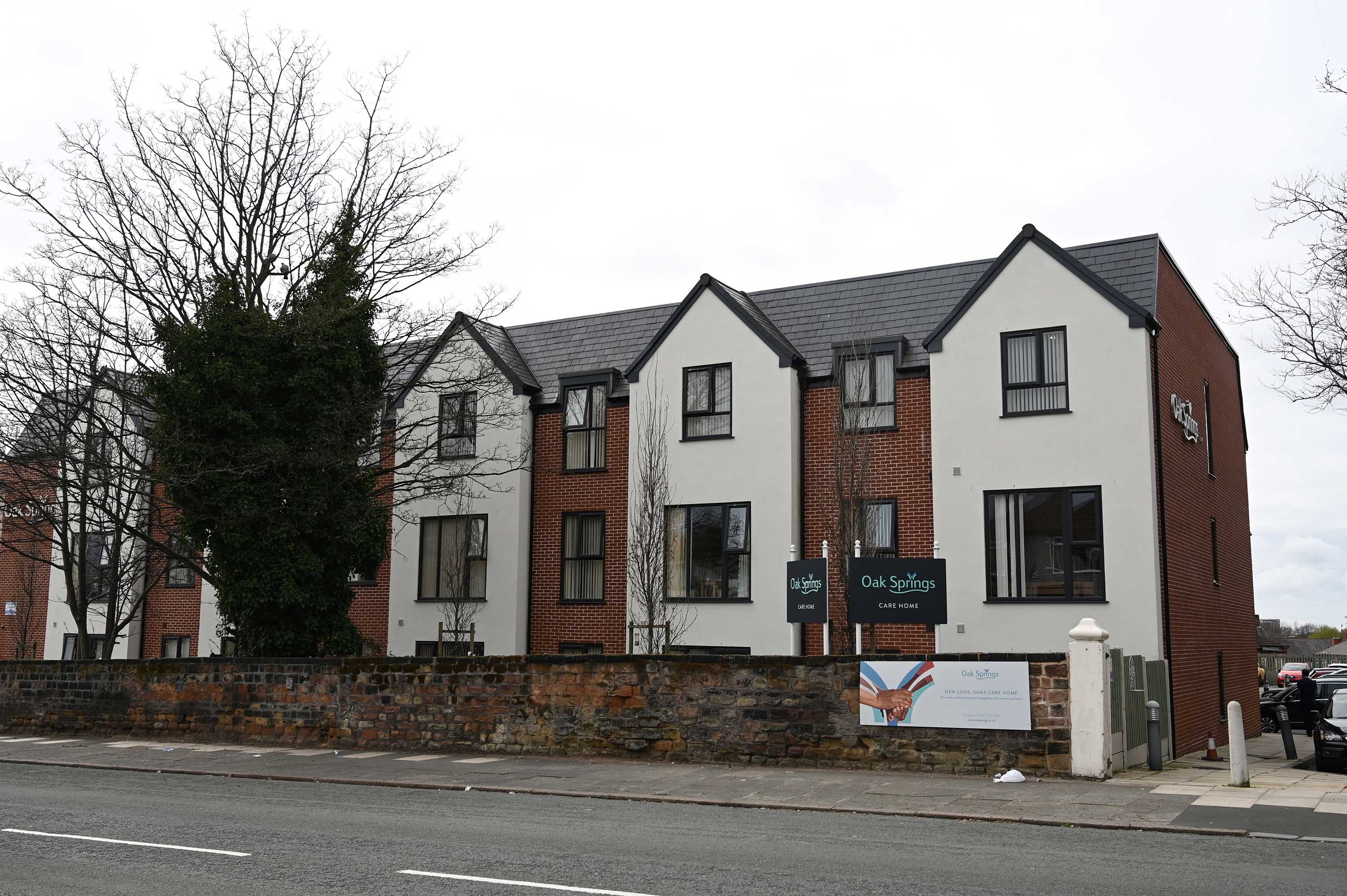Oak Spring care home in Liverpool, England. The home's management says there have been suspected cases of coronavirus-related deaths at the facility.