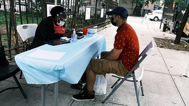 A city run vaccination site stands in a Brooklyn neighborhood which is witnessing a rise in COVID-19 cases on July 13, in New York City.