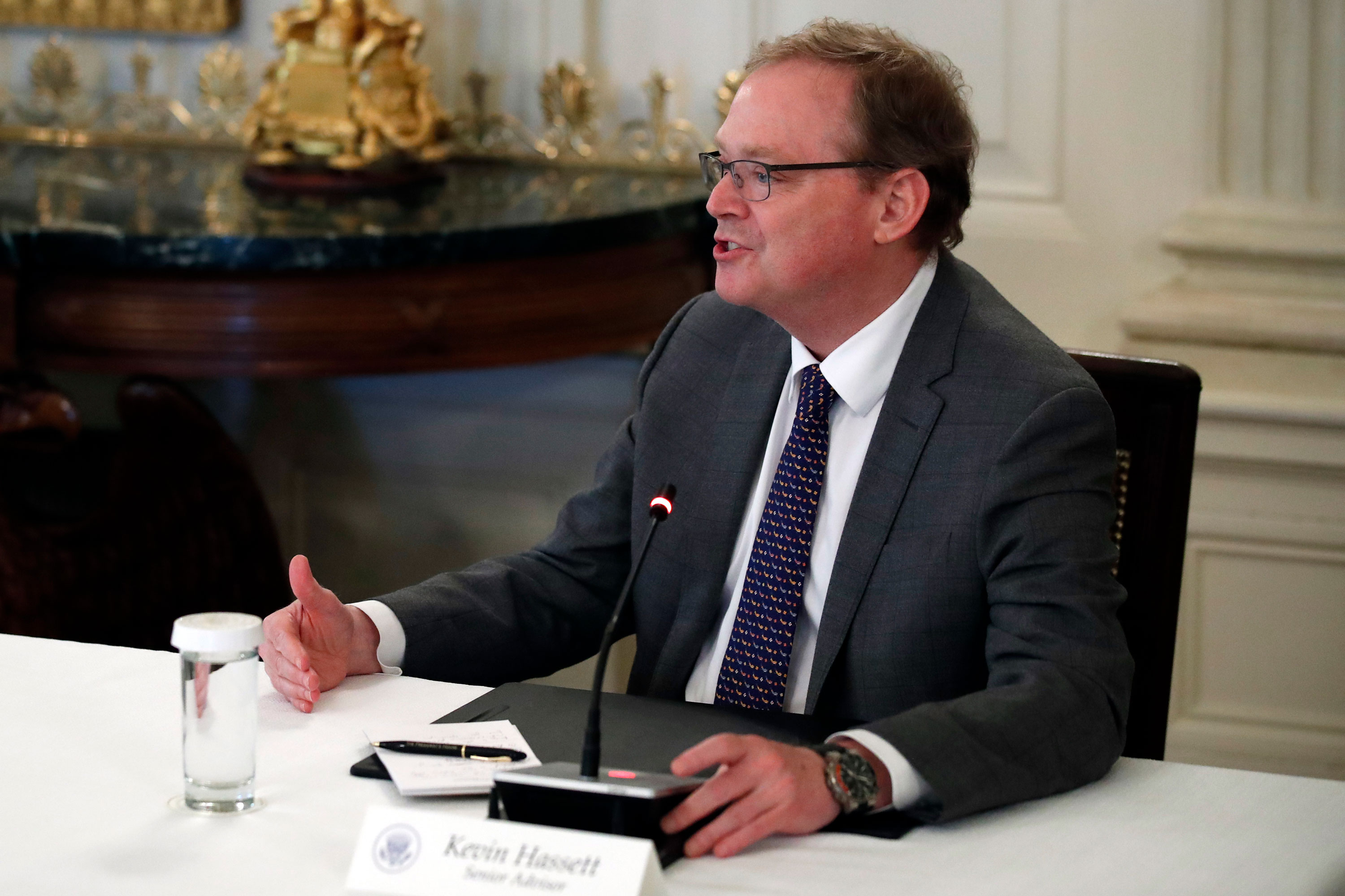 White House senior adviser Kevin Hassett speaks about reopening the country, during a roundtable with industry executives, in the State Dinning Room of the White House, on April 29, in Washington.