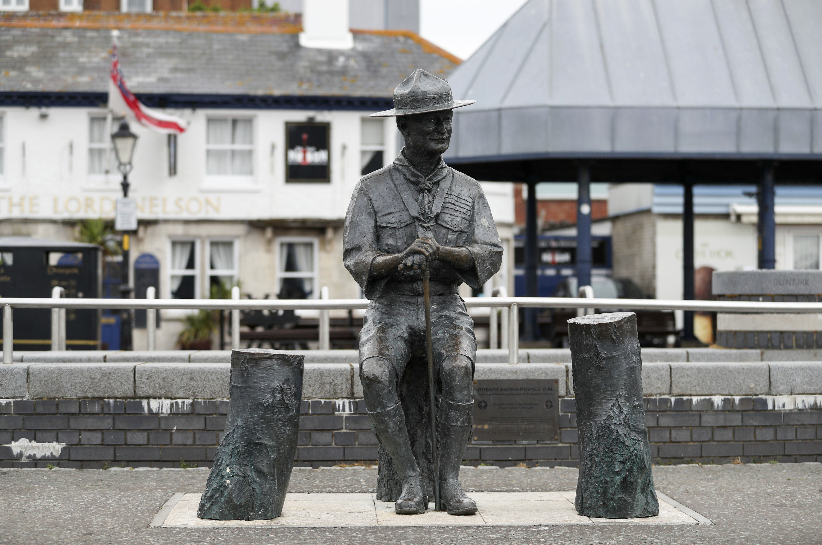 A statue of RobertBaden-Powell, the founder of the worldwide Scout movement, is seen at Poole Quay in Dorset, England, on June 11.